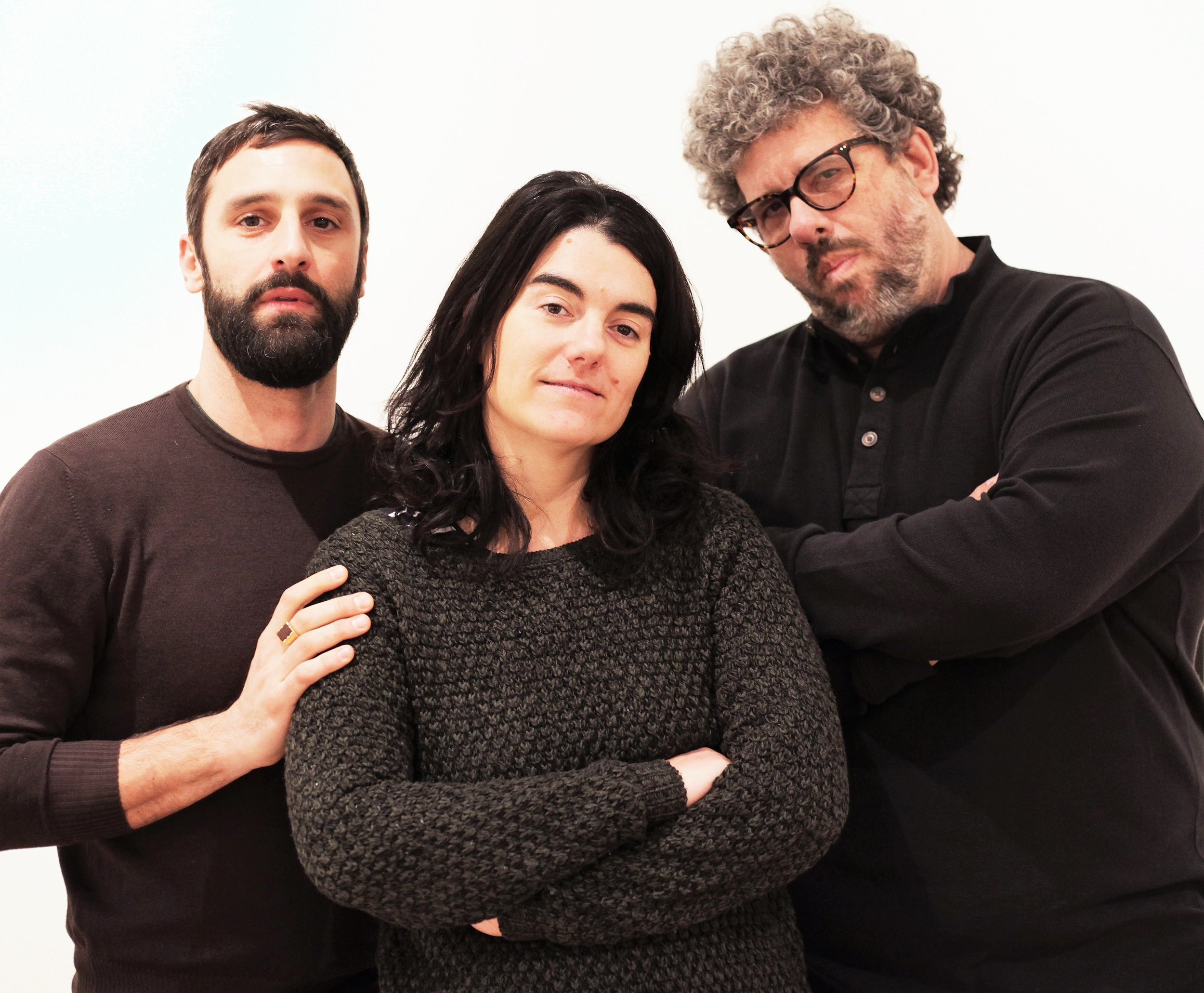 AdA: Author Directing Author  features one-act plays by (from left) Marco Calvani of Italy, Spain's Marta Buchaca, and American Neil LaBute. Top, Gia Crovatin and Richard Kind in LaBute's  I Don't Know What I Can Save You From .