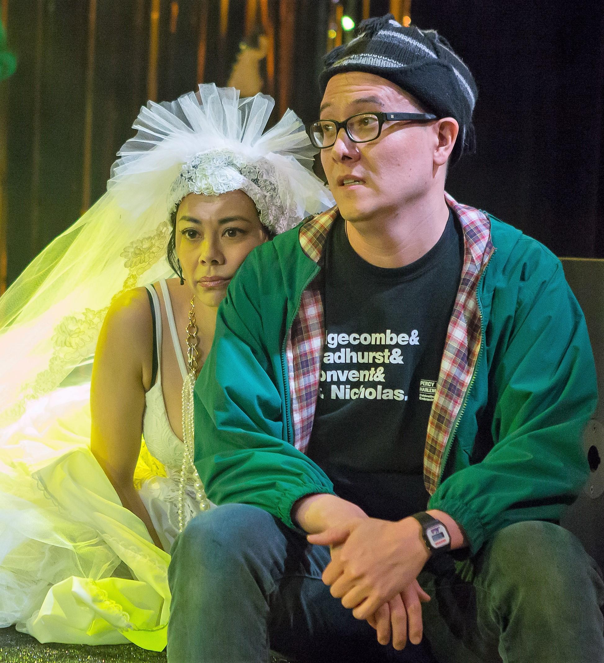 Angel Desai (left) plays Ingrid and Matt Park is Peer in  Peer Gynt and the Norwegian Hapa Band . Top: Park with Mia Katigbak as his mother, Ose.