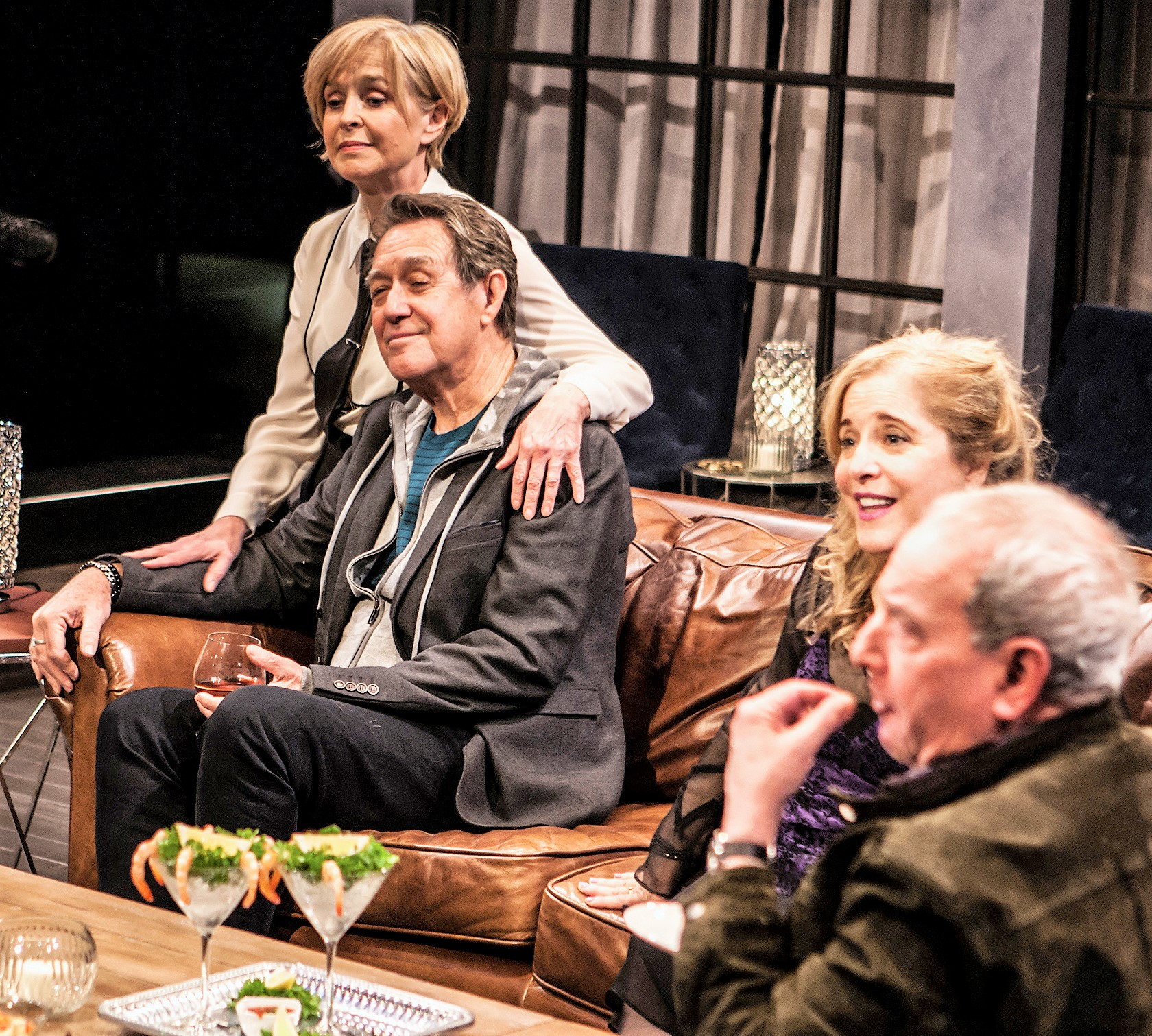 From left: Jill Eikenberry is Nellie, Larry Pine is Tom, Claudia Shear is Annette, and Michael Tucker is Bill, in Wallace Shawn's  Evening at the Talk House . Top: Matthew Broderick (left) plays the playwright Robert, and Annapurna Sriram is Jane.