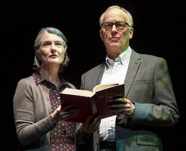 Annette O'Toole (left) is Nancy, and Reed Birney is her husband, Ken, who undergoes a spiritual crisis in Tracy Letts's play  Man from Nebraska . Top: Birney with Heidi Armbruster as Pat Monday.