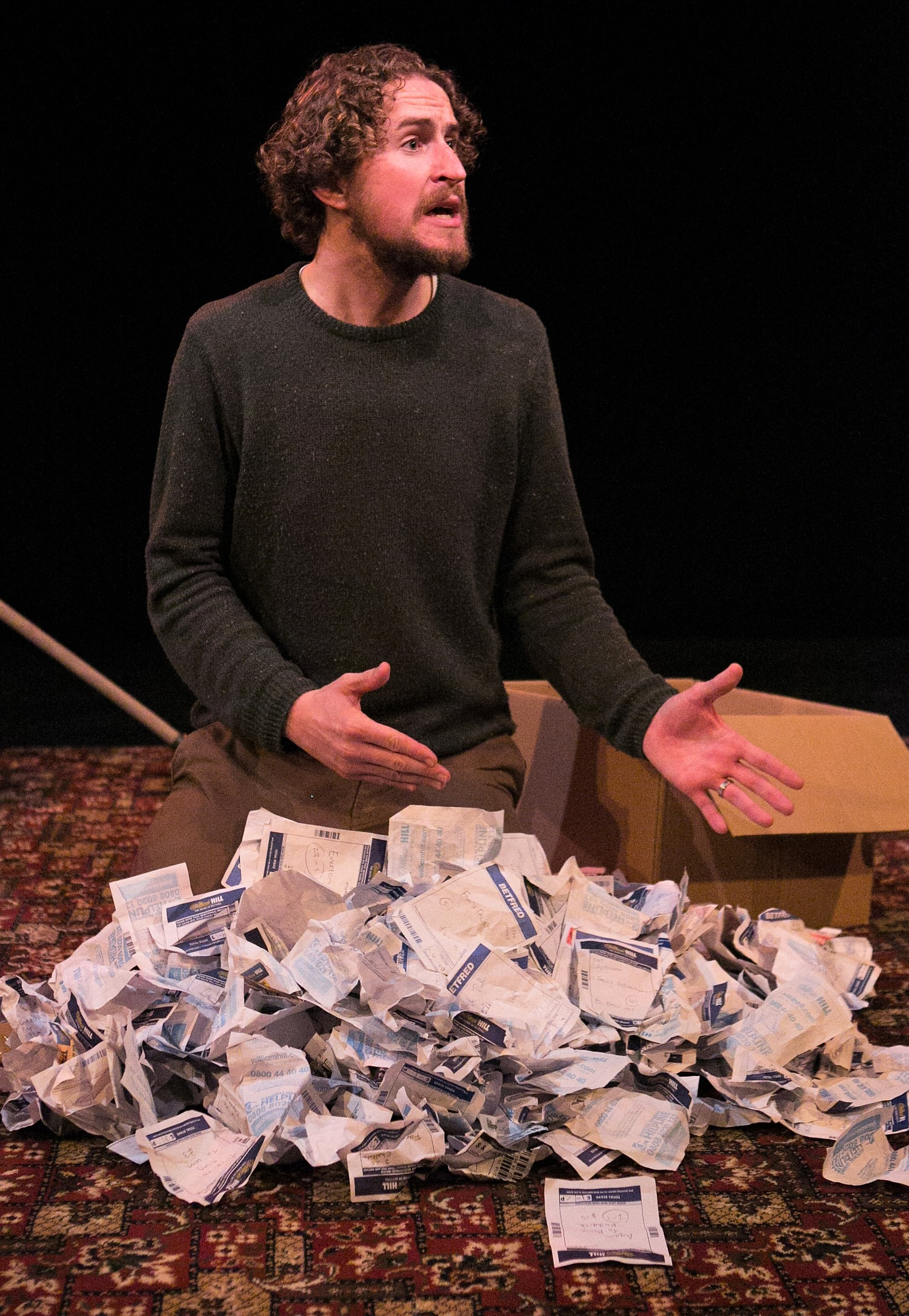 Gary McNair wrestles with the scraps of a life in his affecting monologue  A Gambler's Guide to Dying . Top: McNair in a typically energetic moment.
