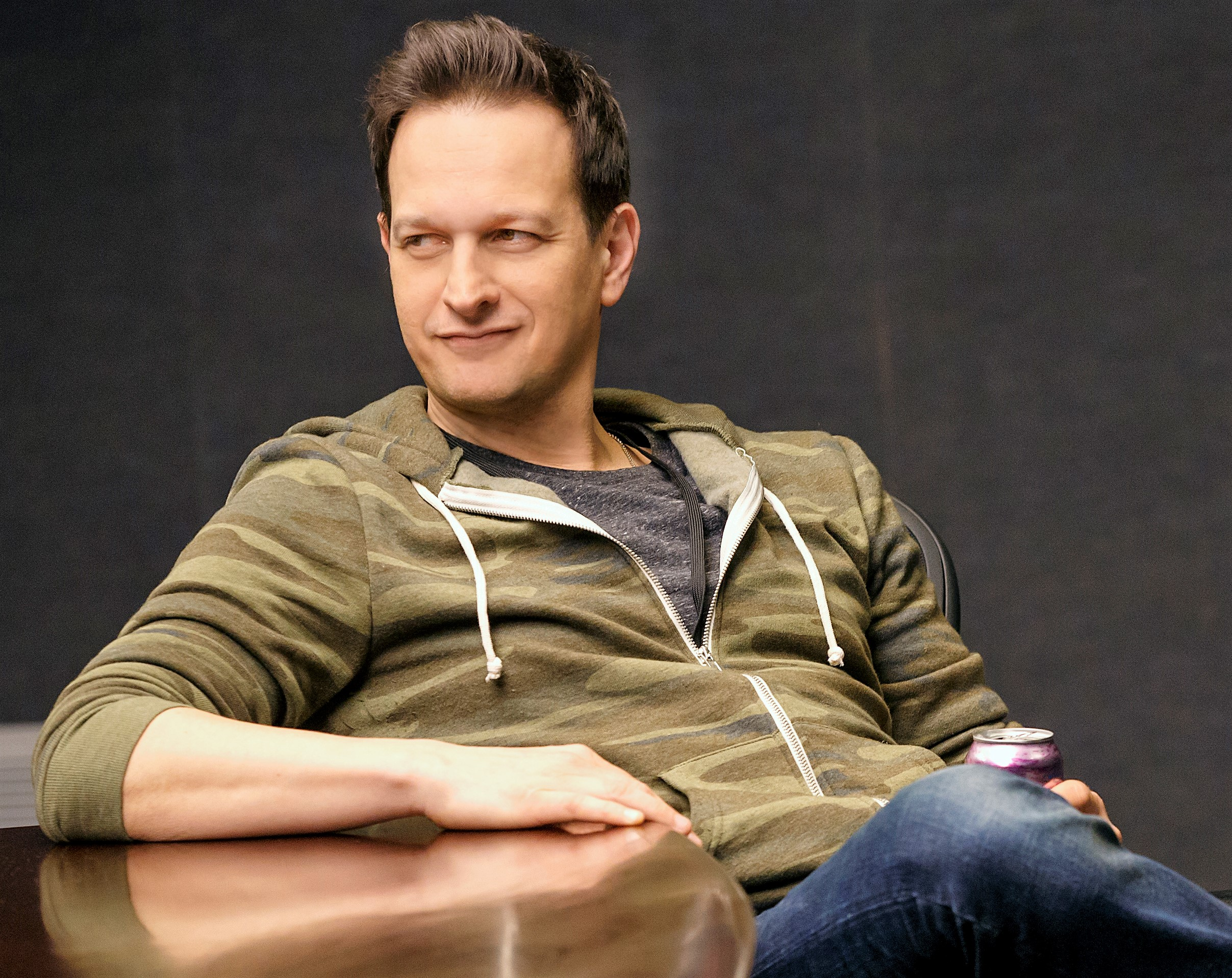 Josh Charles is in fine, louche form as Dave in Annie Baker's  The Antipodes . Top: Josh (Josh Hamilton) wonders when he's going to get paid.