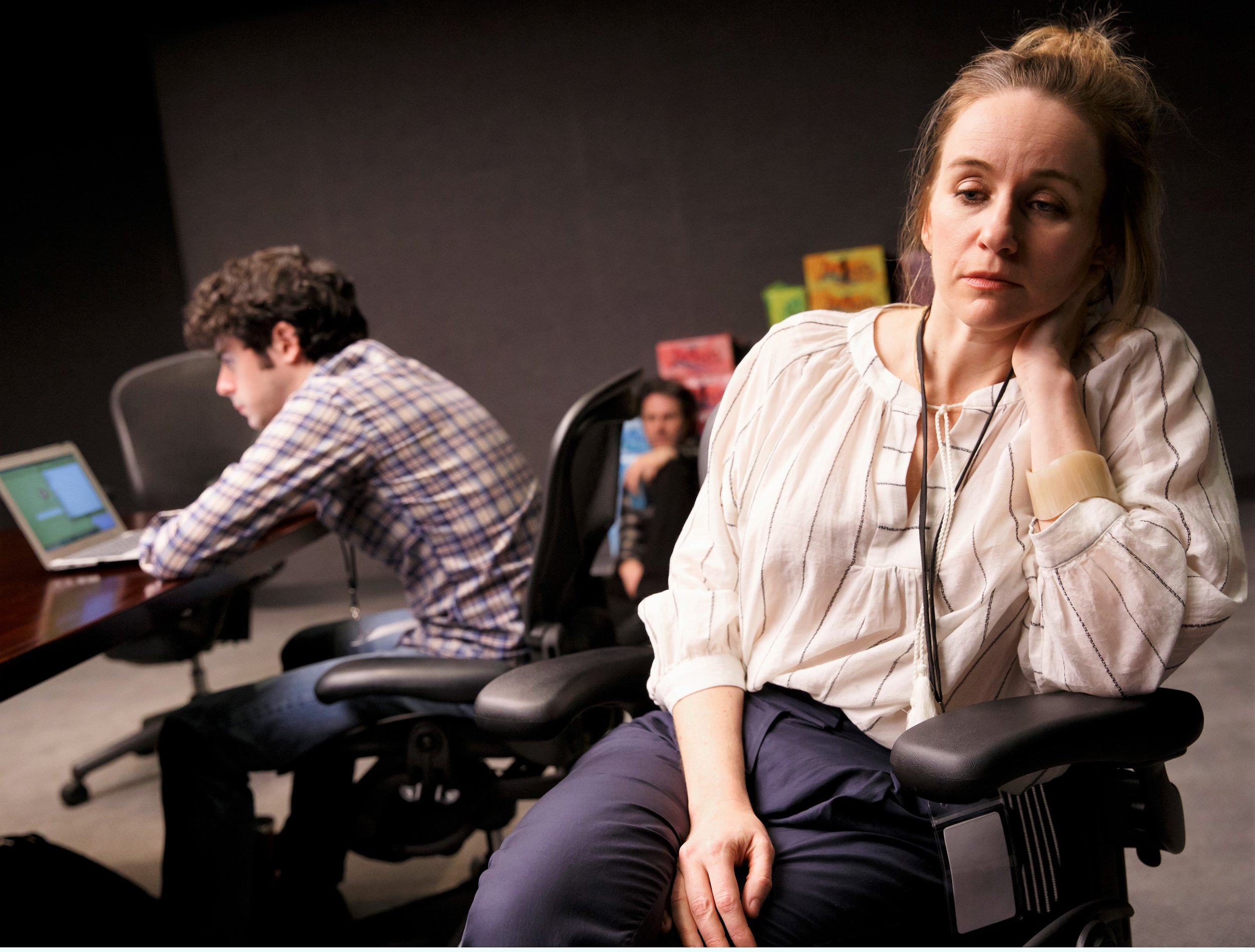 The windowless room begins to take its toll on Brian (Brian Miskell) and Eleanor (Emily Cass McDonnell). Photographs by Joan Marcus.