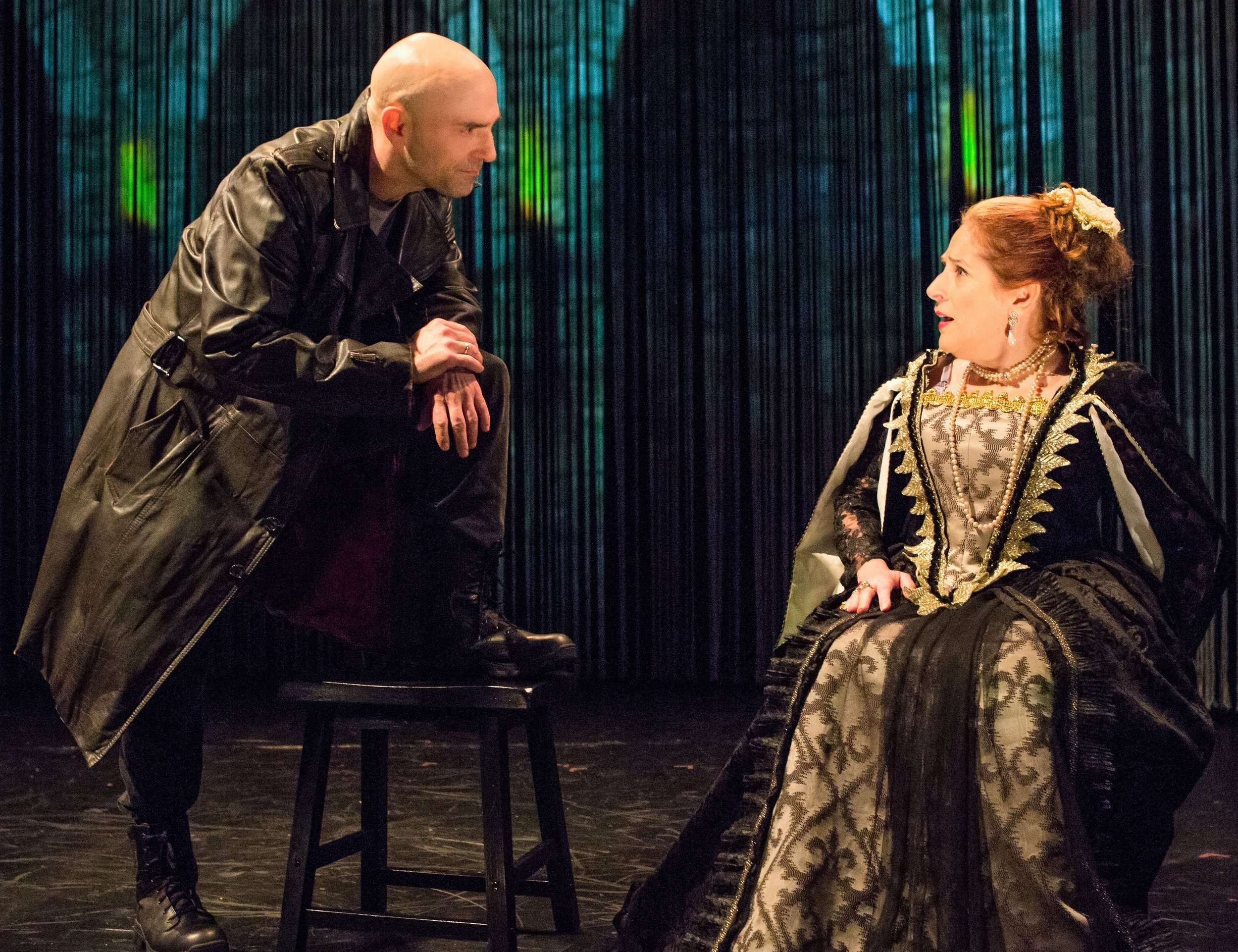 Horatio (Khris Lewin) confronts Gertrude (Joy Hermalyn). Top: Horatio (Lewin) instructs Hamlet (Matt Weiss) in fencing. Photos by Jeremy Daniel.
