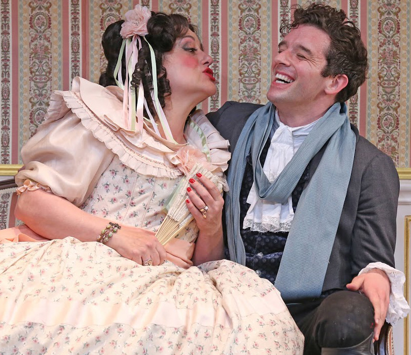 Mary Testa plays the mayor's randy wife, and Michael Urie is a dandy mistaken for an official from St. Petersburg, in Gogol's  The Government Inspector . Top: Urie and Testa with Michael McGrath as the corrupt mayor and Talene Monahon as his daughter.