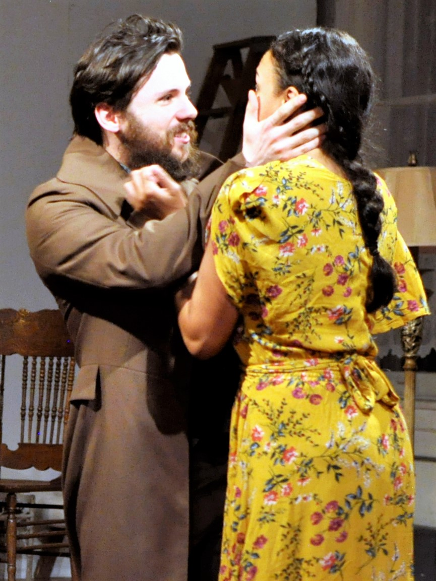 The writer Trigorin (Fergus Scully) and Nina (Jeanette Dilone) in  The Seagull . Top: Scully wth Kristen Vaughan as Arkadina. Photos by Lisa Renee Jordan.