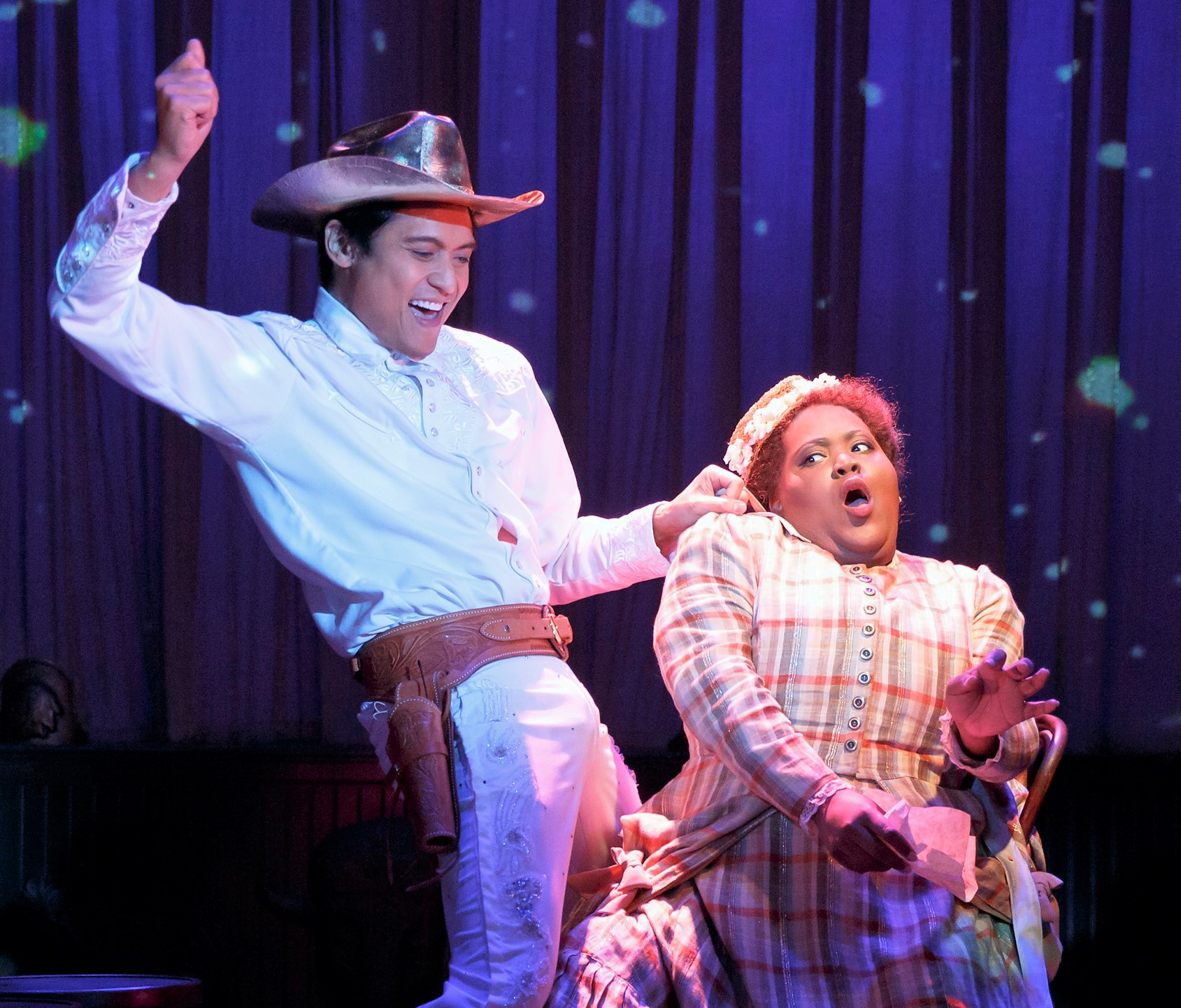 Kelley with Paolo Montalban as Tommie Haw. Photographs by Joan Marcus.