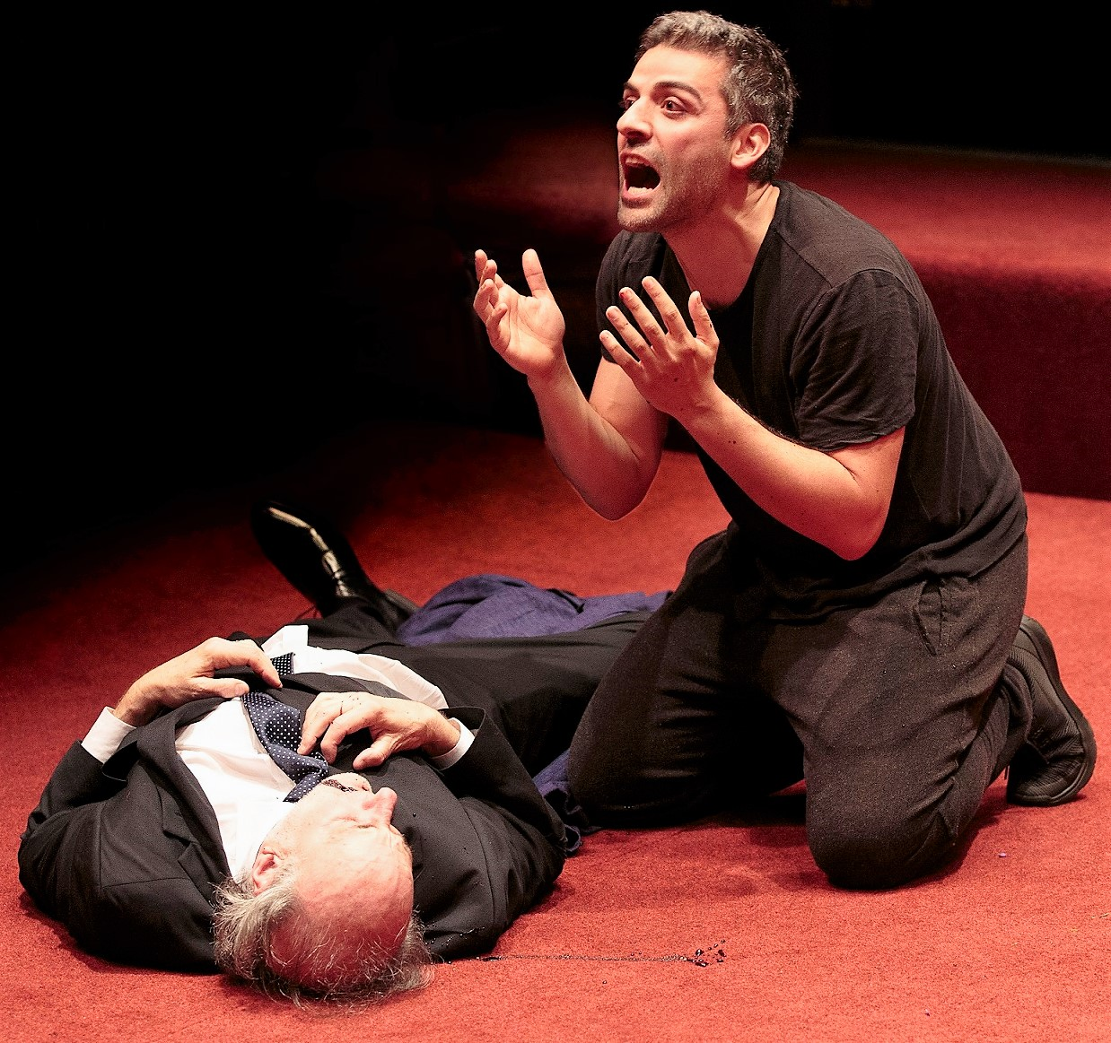 Hamlet immediately after the killing of Polonius (Peter Friedman).