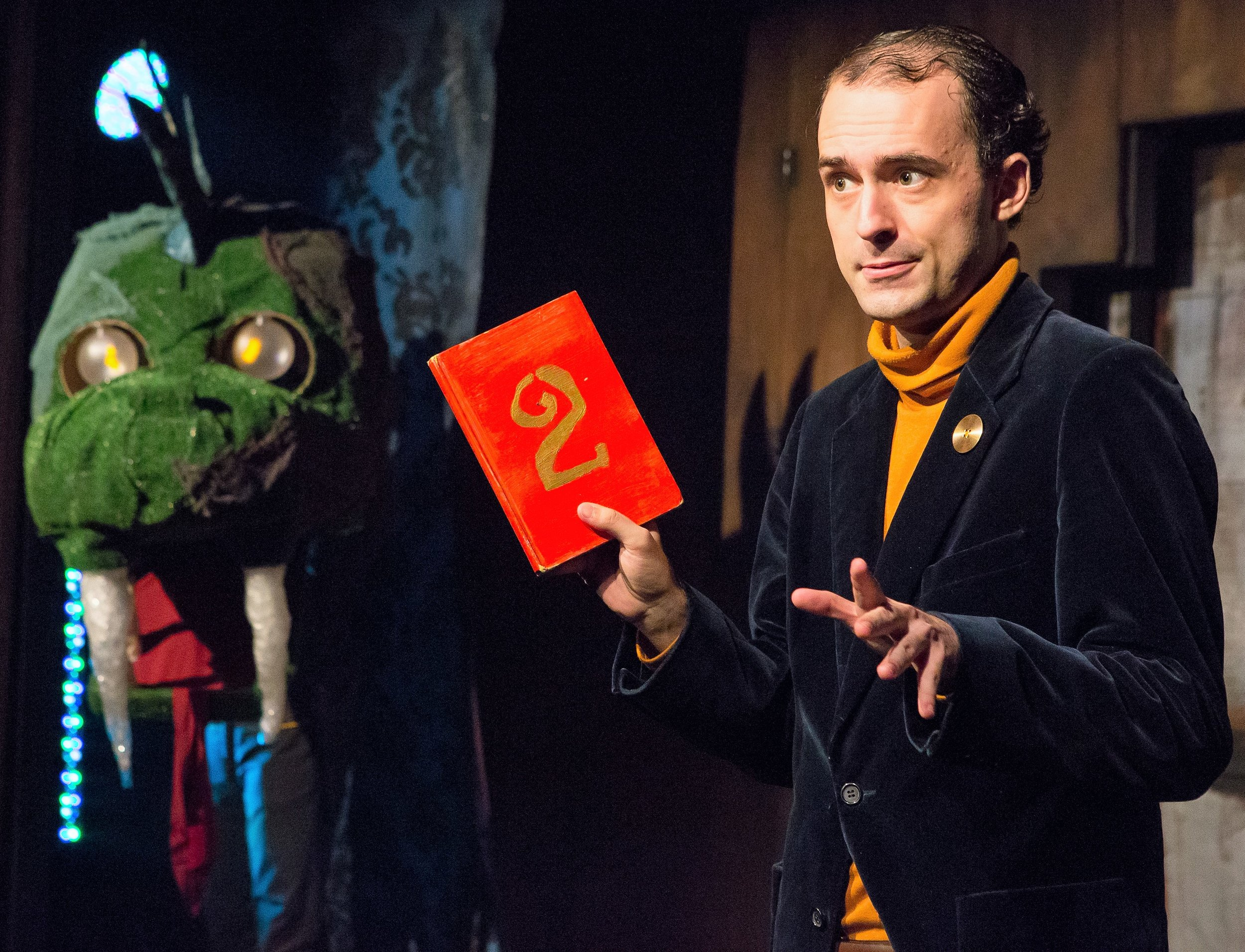 A.J. Ditty narrates  Puffs , a play about Harry Potter's wizarding school that focuses on new characters. Top (left to right): Langston Belton as Oliver Rivers, Julie Ann Earls as Megan Jones and Zac Moon as Wayne Hopkins.
