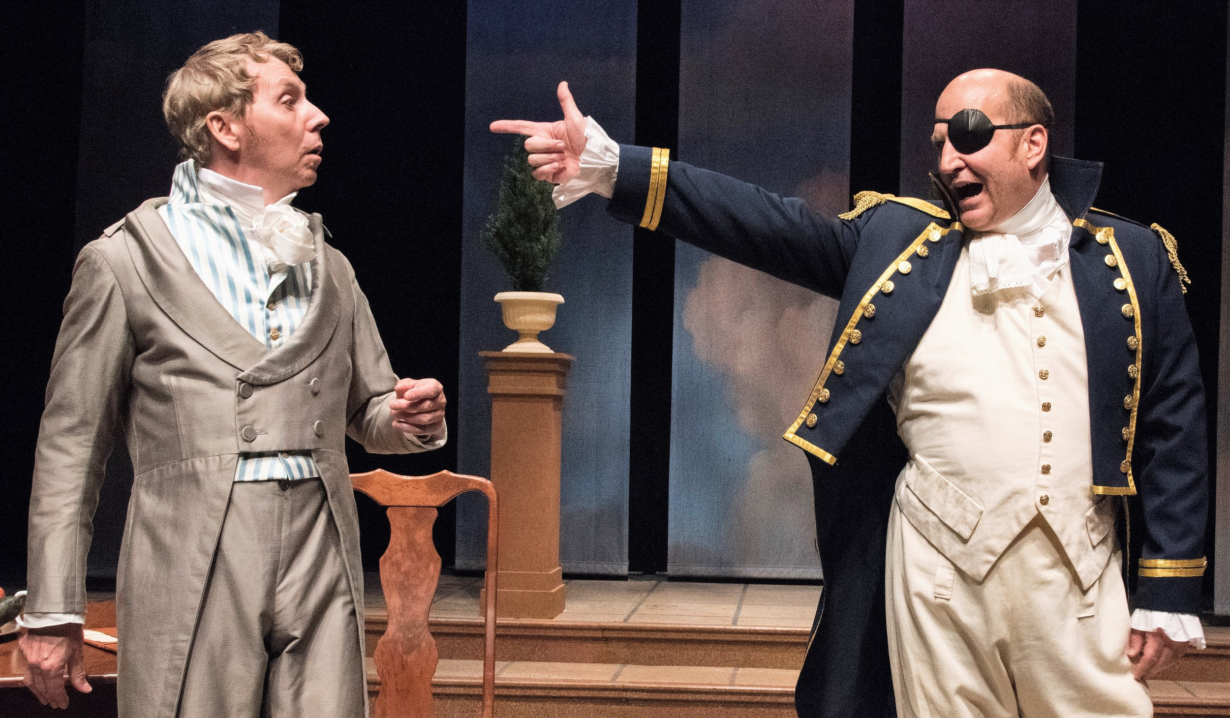 Jonathan Tindle (left) plays Ezra Chater, a cuckolded poet, and Steven Dykes is Captain Brice. Photographs by Stan Barouh.
