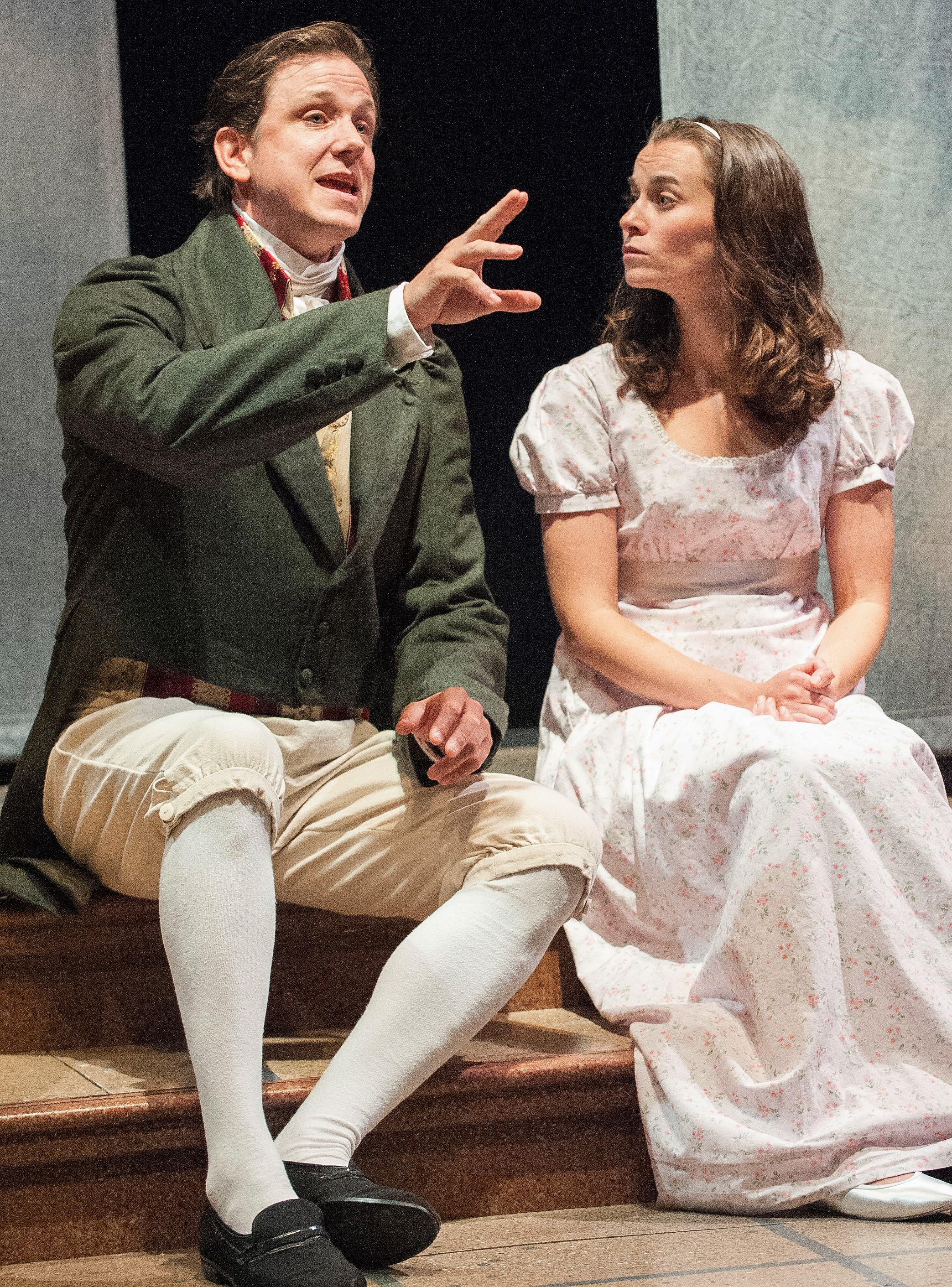 Andrew William Smith (left) plays Septimus Hodge, tutor to Thomasina Coverly (Caitlin Duffy) in Tom Stoppard's  Arcadia . Top: Alex Draper is the historical scholar Bernard Nightingale, and Stephanie Janssen is author Hannah Jarvis.