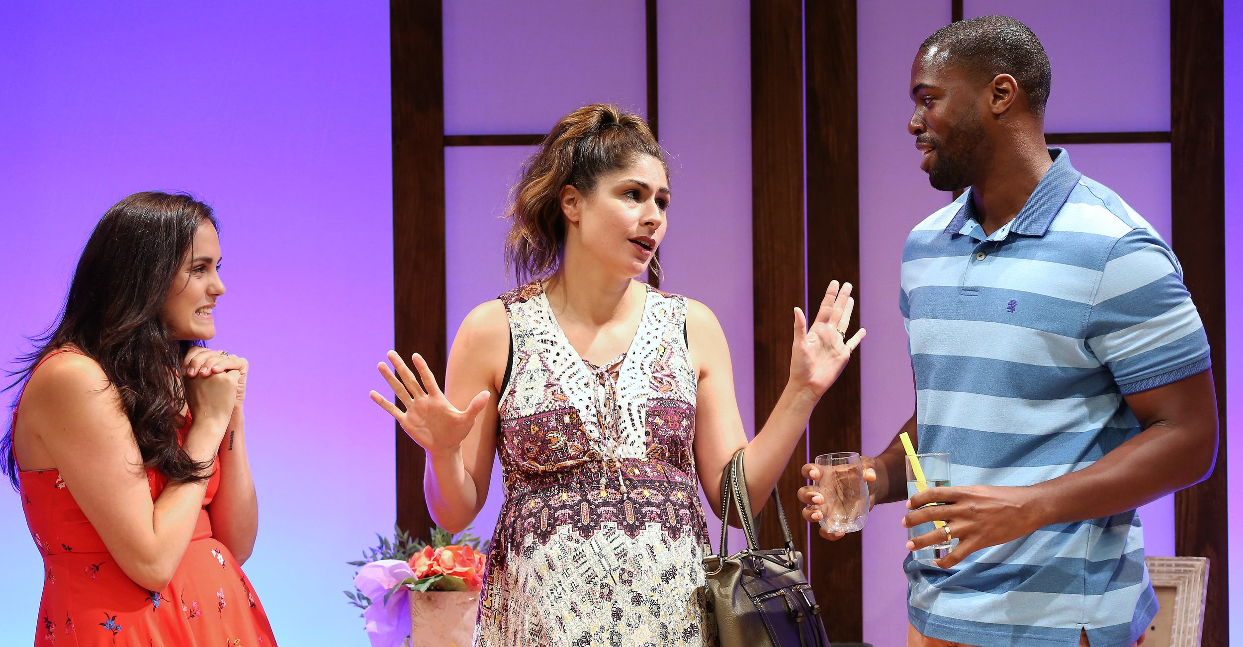 From left: Rachel Napoleon is Dana, Georgia Ximenes Lifsher is Edi, and Donovan Mitchell is Lonny, in  Wedding Bash , by Lindsey Kraft and Andrew Leeds. Top: John Garrett Greer (left) is Oliver, and Keilyn Durrel Jones is Stan, two top tennis players, in Neil LaBute's  Break Point  at  Summer Shorts 2017 .