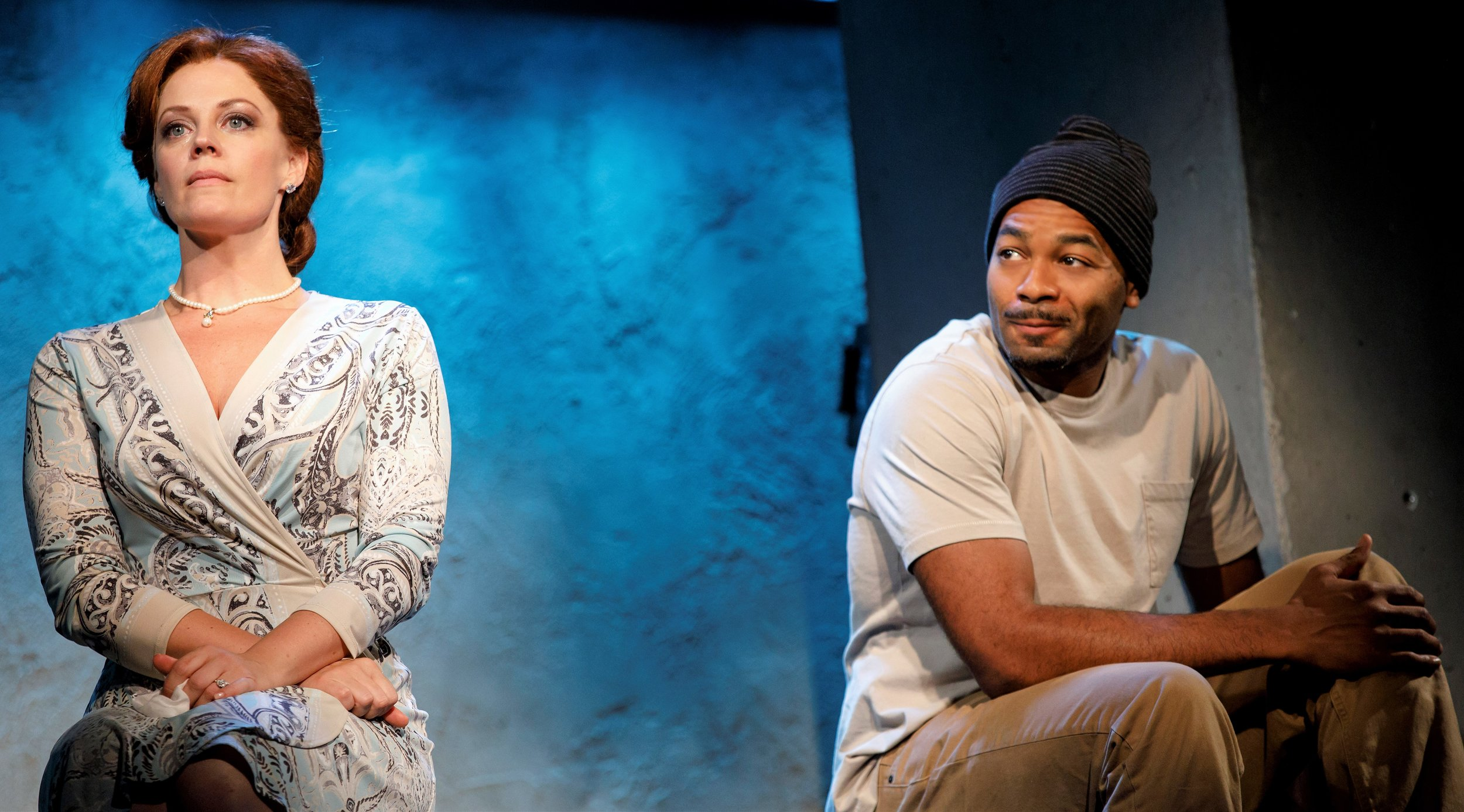Elizabeth Stanley (left) plays the mayor's wife and Monster Brandon Victor Dixon is Monster in the revival of Suzan-Lori Parks's  Fucking A . Top: Dixon and Christine Lahti.