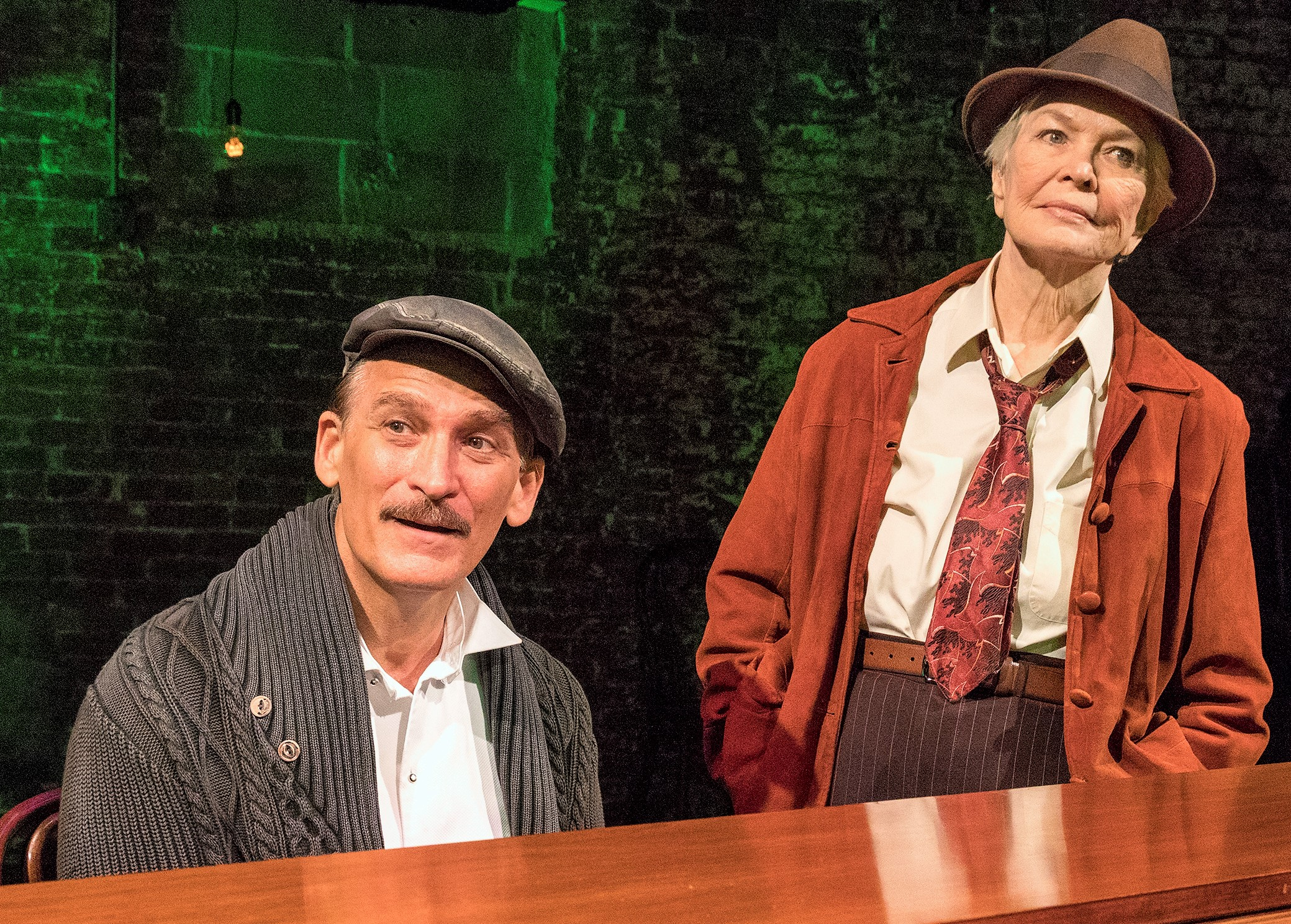 Bob Stillman and Ellen Burstyn in John Doyle's bare-bones  As You Like It . Top: Kyle Scatliffe (left) as Orlando and Hannah Cabell as Rosalind.