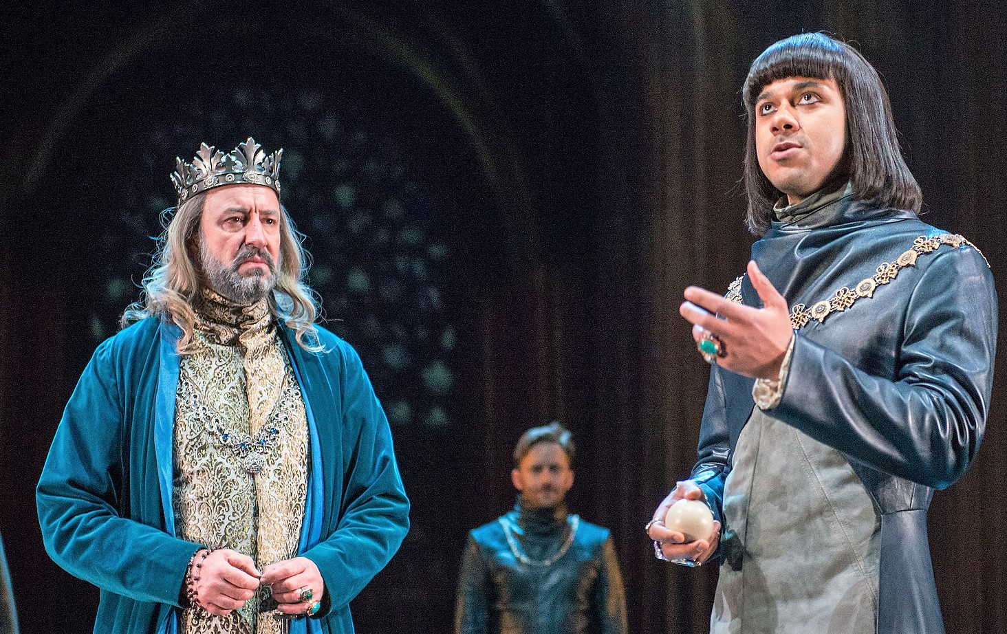 Simon Thorp (left) is the King of France, Sam Marks (upstage) is the Constable, and Robert Gilbert is the Dauphin opposing Henry.