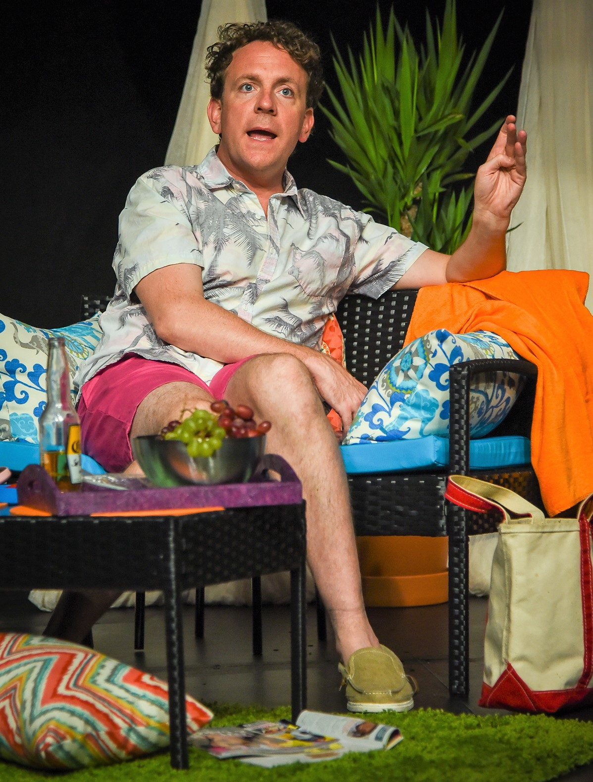 Drew Droege (above and at top) wrote and stars in  Bright Colors and Bold Patterns , about a weekend visit to Palm Springs for a friend's wedding. Photos by Russ Rowland.