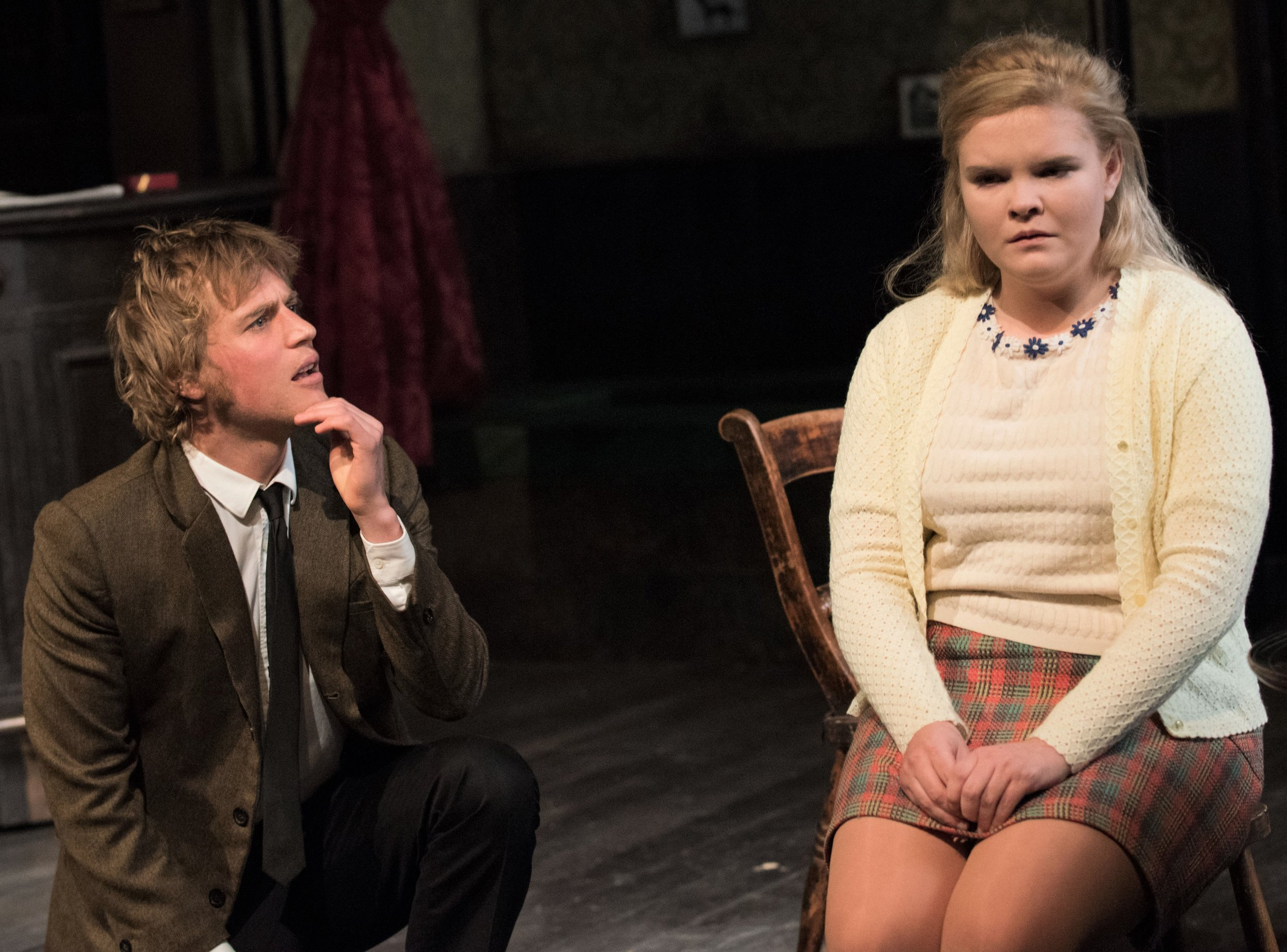Flynn with Gaby French as Shirley. Photographs by  Ahron R. Foster .