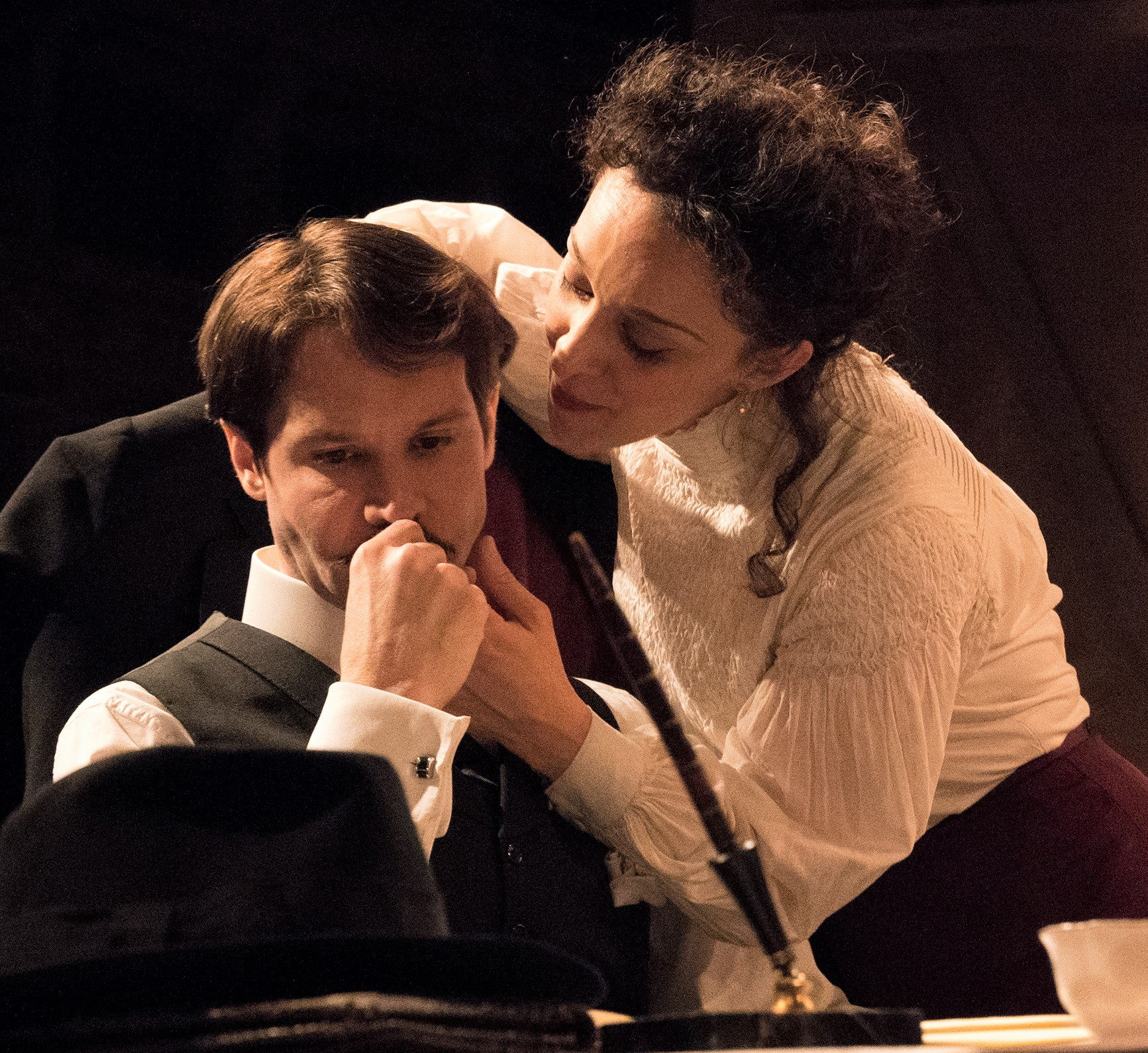 Rodrigo Lopresti (left) is Gabriele Torrisi and Cristina Spina is his muse, Eleonora Della Rosa, in Brandon Cole's  Imperfect Love , based on the lives of Gabriele D'Annunzio and Eleonora Duse. Top: Ed Malone (left) is the clown Marco, and David O'Hara is his cohort Beppo.
