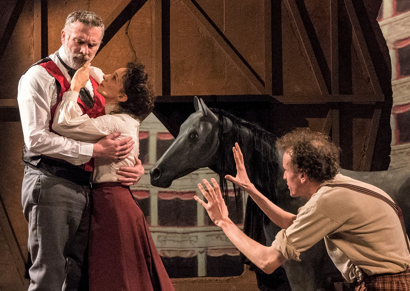 Spina and Malone with Aidan Redmond (left) as Domenica, the male lead of Torrisi's play. Photographs by Richard Termine.