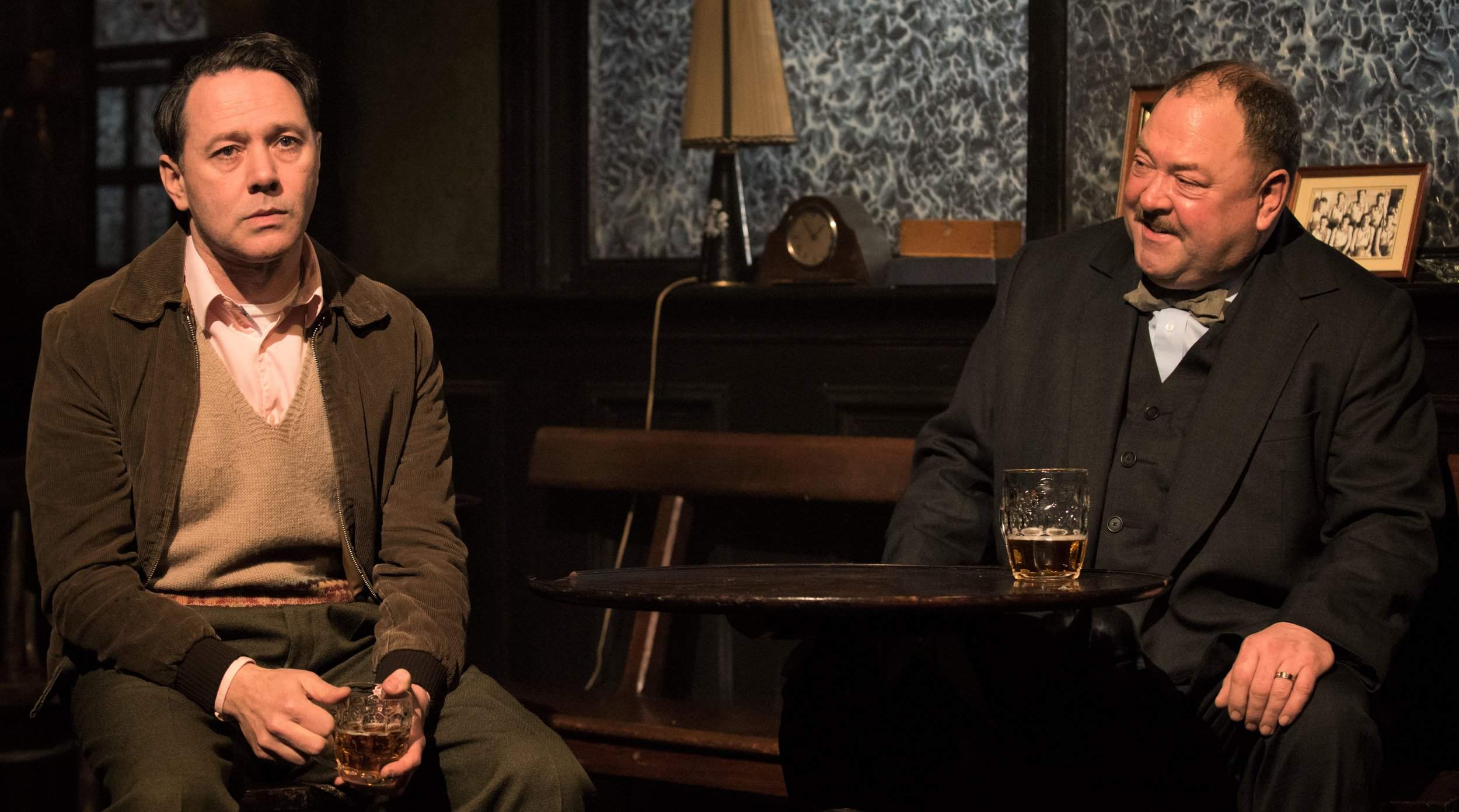 Reece Shearsmith (left) is Syd, the former assistant to hangman Harry Wade (Mark Addy) in Martin McDonagh's  Hangmen . Top from left: John Horton as Arthur, Johnny Flynn as Mooney and Owen Campbell as Clegg.