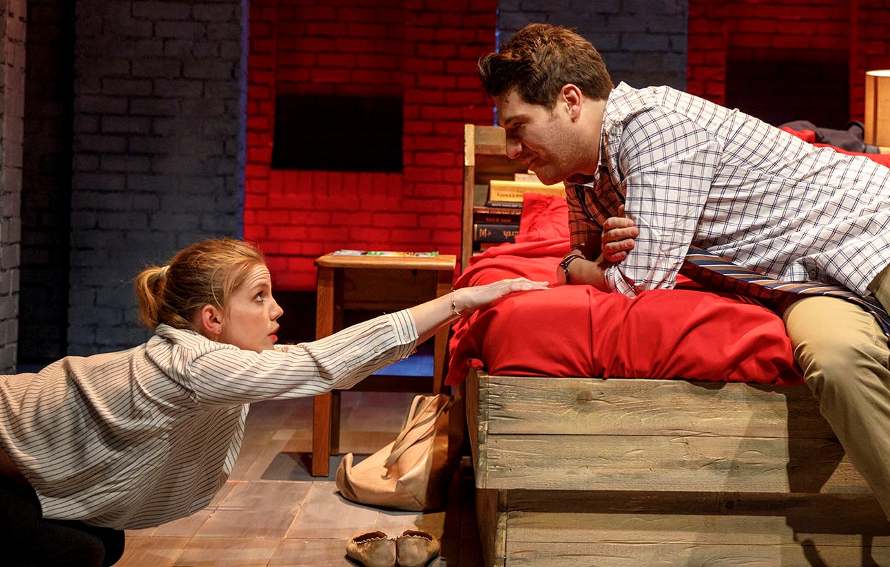 Lydia (Anna Chlumsky) and Jeff (Adam Pally) paint the town red in Greg Pierce's  Cardinal . Top: Lydia makes a deal with, from left, Jason (Eugene Young) and Li-Wei Chen (Stephen Park).