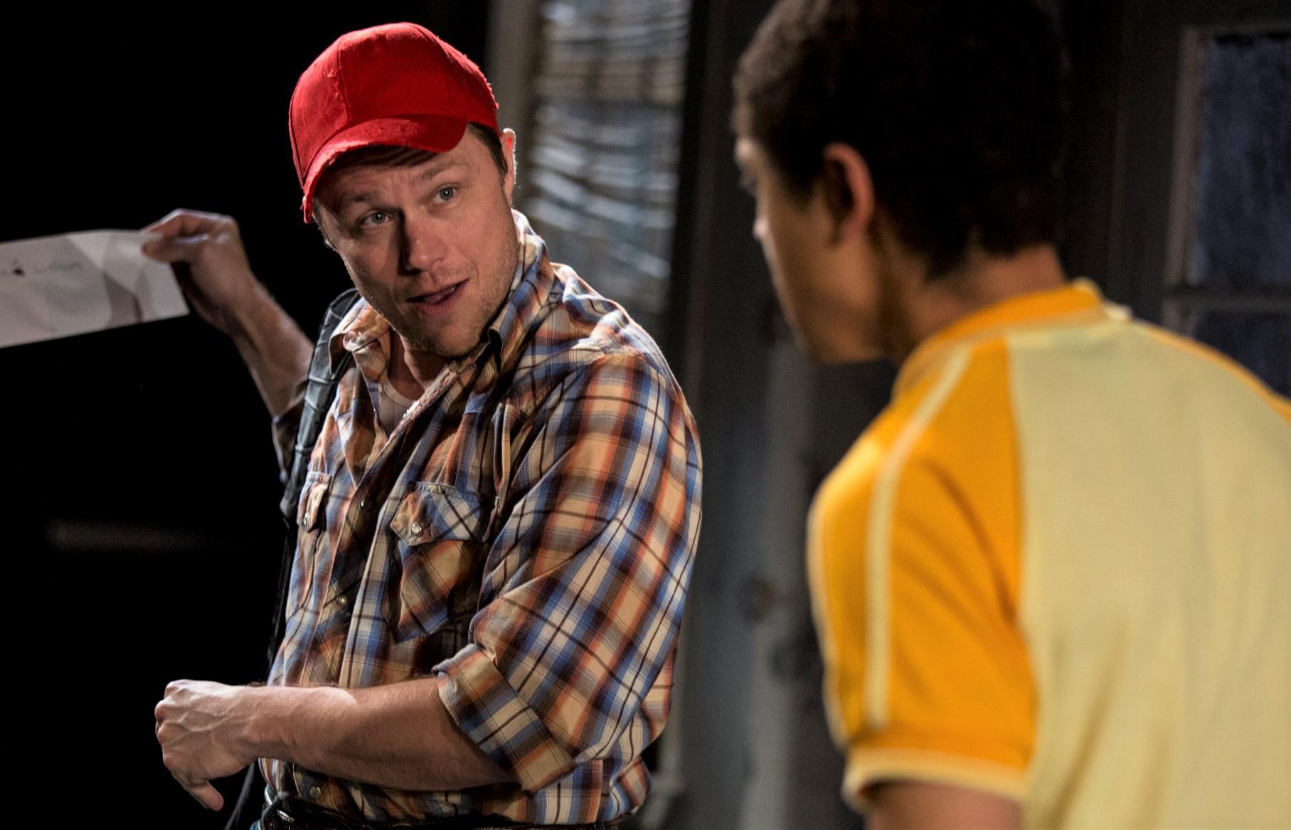 Mat Hostetler (left) is Bones Boyd, the father of Jaybo (Reynaldo Piniella, right) in Gabriel Jason Dean's  Terminus . Top: Piniella with Deirdre O'Connell) as Eller.