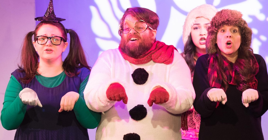 From left: Kathleen Armenti, Jake McKenna, and Natalie Sullivan in  Wicked Frozen . Top: Armenti and cast.