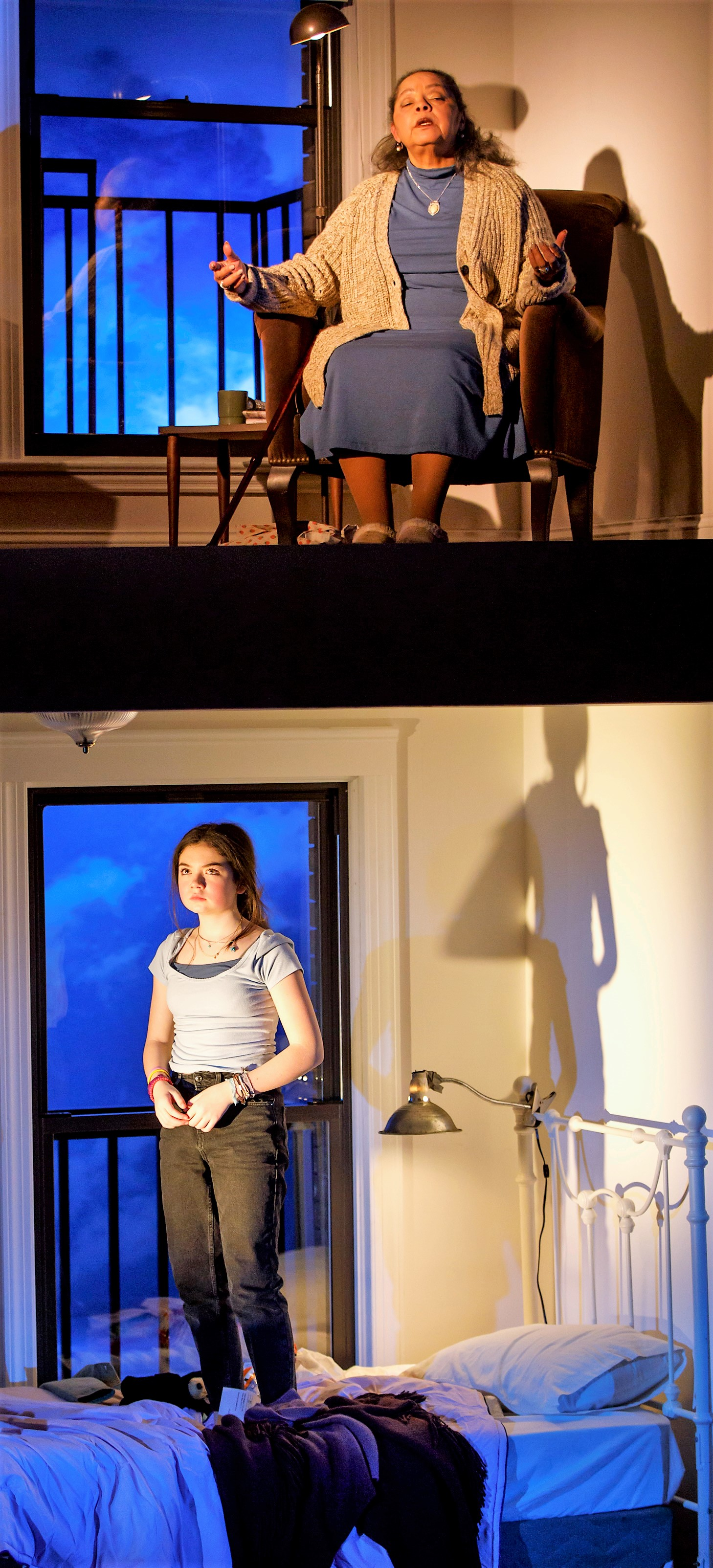 From top: Lynda Gravátt is a cellist living above a teenager (Ella Kennedy Davis) in Lindsey Ferrentino's  This Flat Earth . Top photo, Davis with (from left) Cassie Beck as Lisa Harris, Ian Saint-Germain as Zander and Lucas Papaelias as her father, Dan.