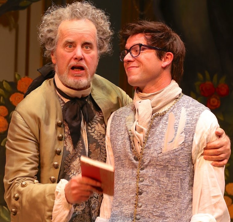 Adam Lefevre (left) plays the poet Francalou, and Christian Conn is Damis, a poet who hates Francalou's poetry but loves the poetry written by Francalou under a feminine pseudonym, in David Ives's  The Metromaniacs . Top, from left: Conn with Amelia Pedlow as Lucille and Adam Green as Damis' servant Mondor (in disguise).