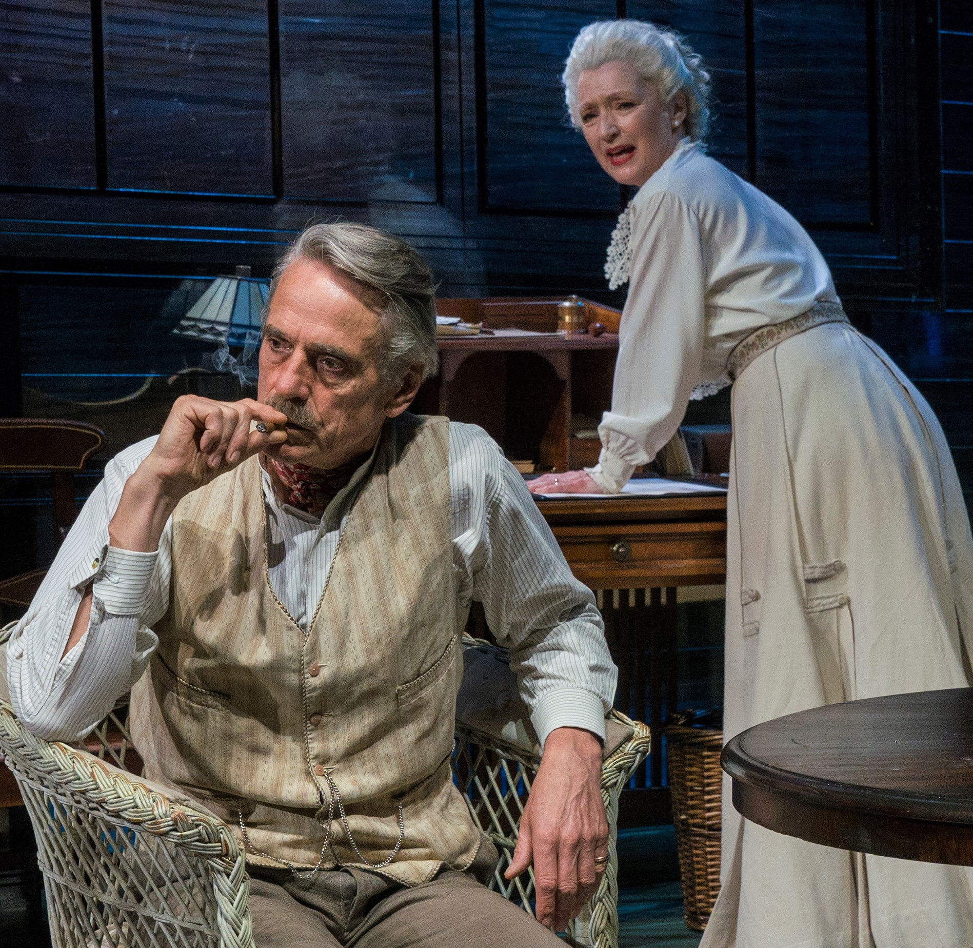 James (Irons) realizes that Mary (Manville) is addicted again. Photographs by Richard Termine.