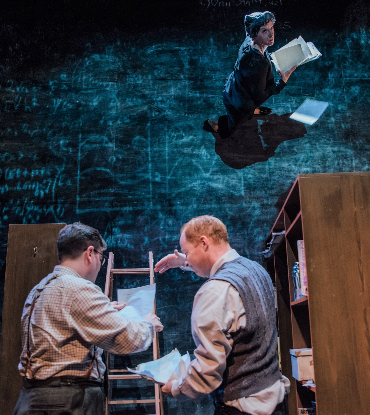 Delaney and Hirst with Andy McLeod (right) as George. Photo by David Monteith Hodge.