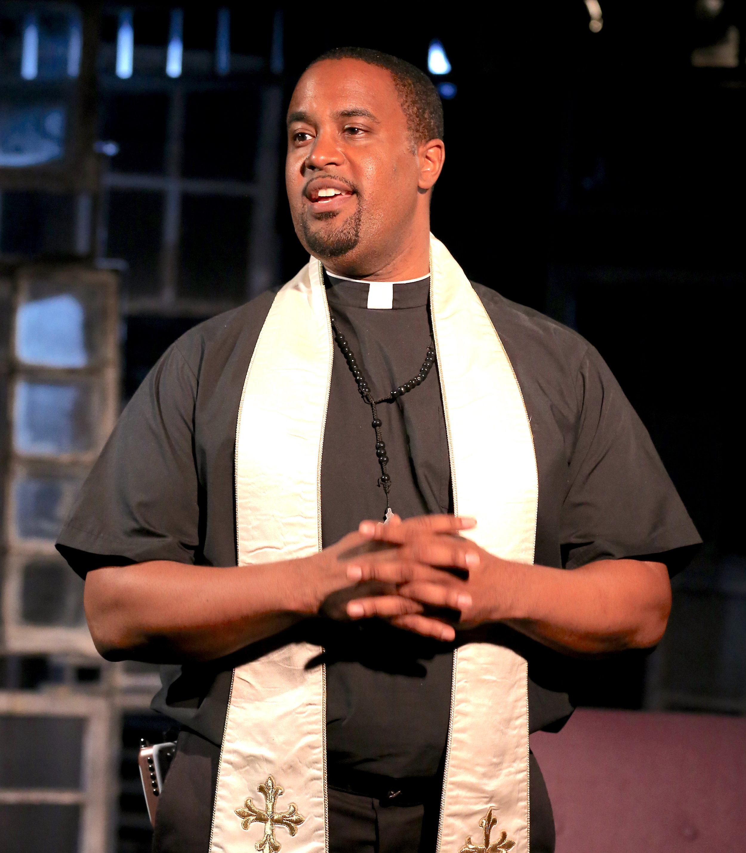 Ryan Vincent Anderson as Father Ray. Photographs by Carol Rosegg.