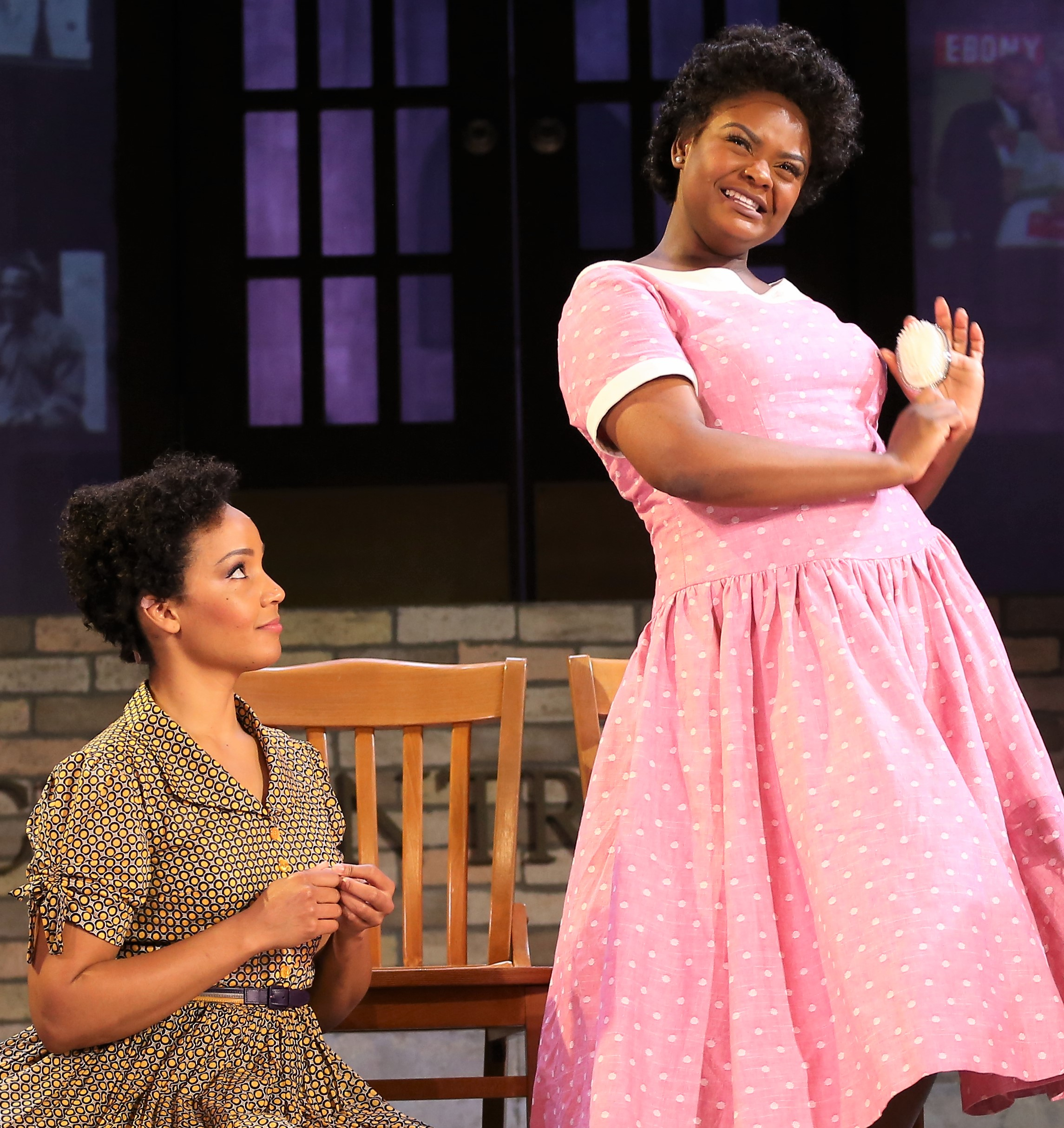 Stephanie Umoh as Thelma Mothershed (left) and Shanice Williams as Minijean Brown play two members of the Little Rock Nine in Rajendra Ramoon Maharaj's  Little Rock.  Top: Anita Welch as Lothaire Green (left), Charlie Hudson III as Little Rock Nine member Ernest Green, and Umoh as Grandma India.