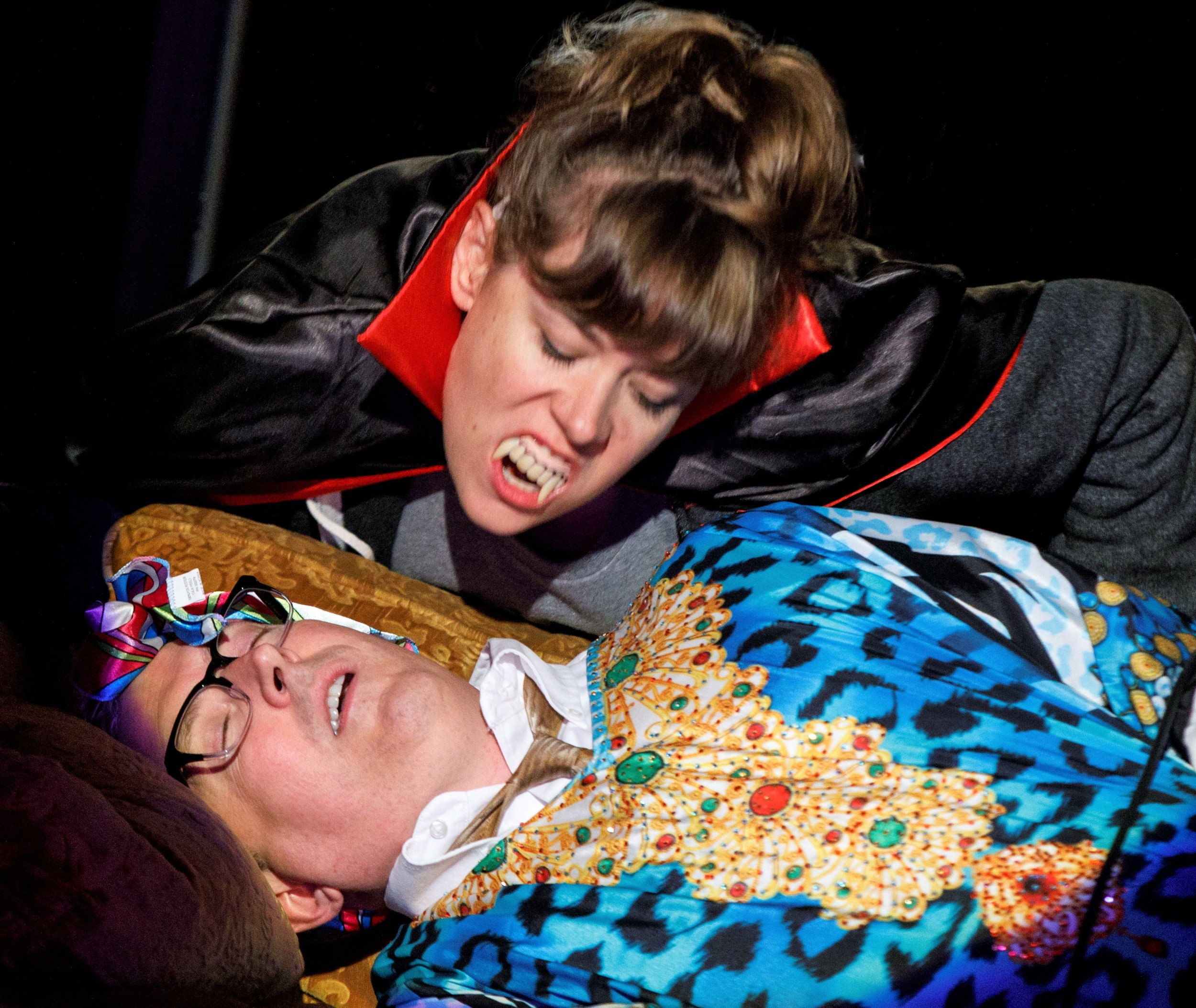 Lindsay Hockaday, as Carmilla the vampire graduate student, and Knight in  Everyone's Fine with Virginia Woolf .