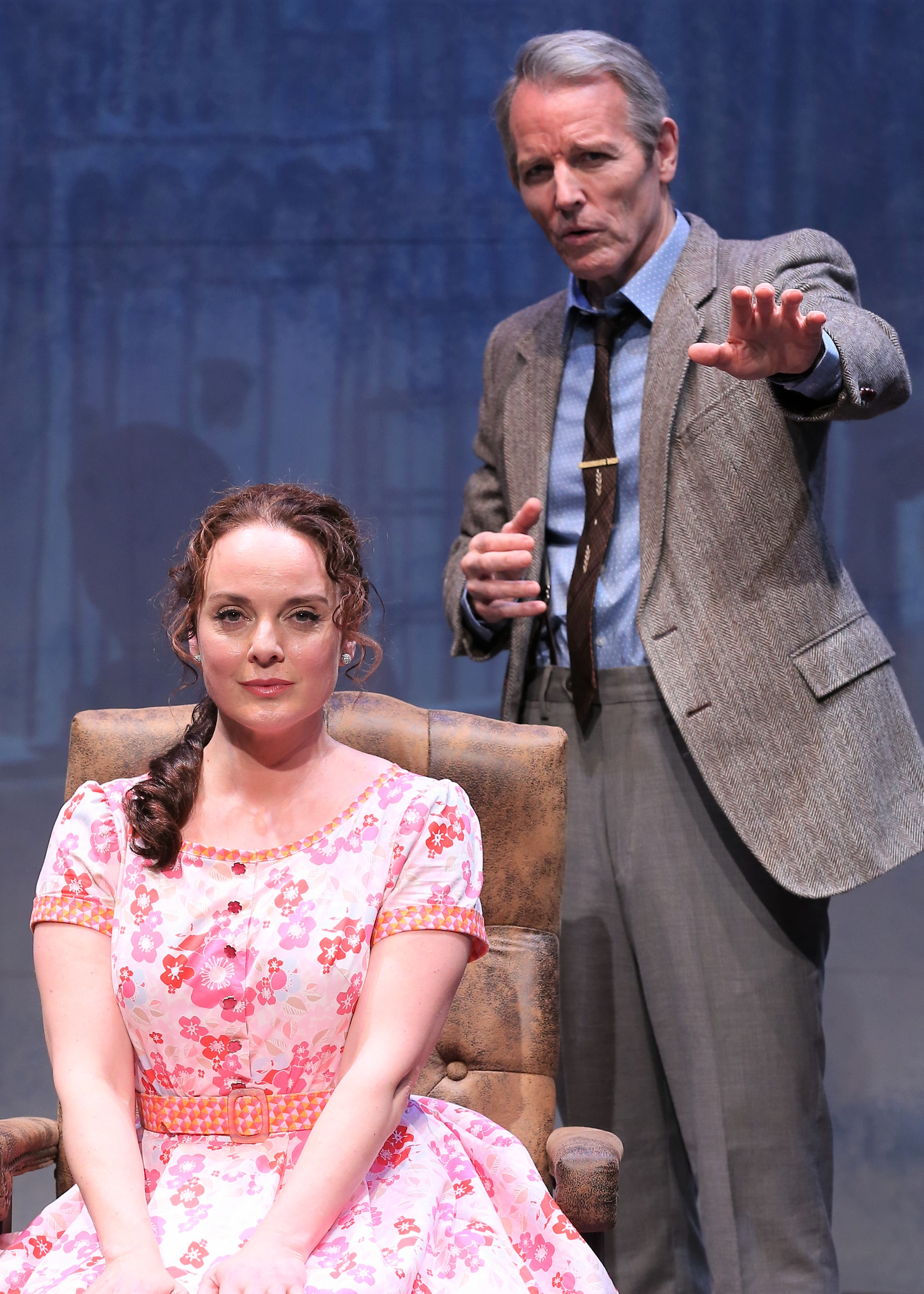 Melissa Errico (in a godawful dress) plays Daisy Gamble, and Stephen Bogardus is Dr. Mark Bruckner in  On a Clear Day You Can See Forever . Top: Errico with cast members.