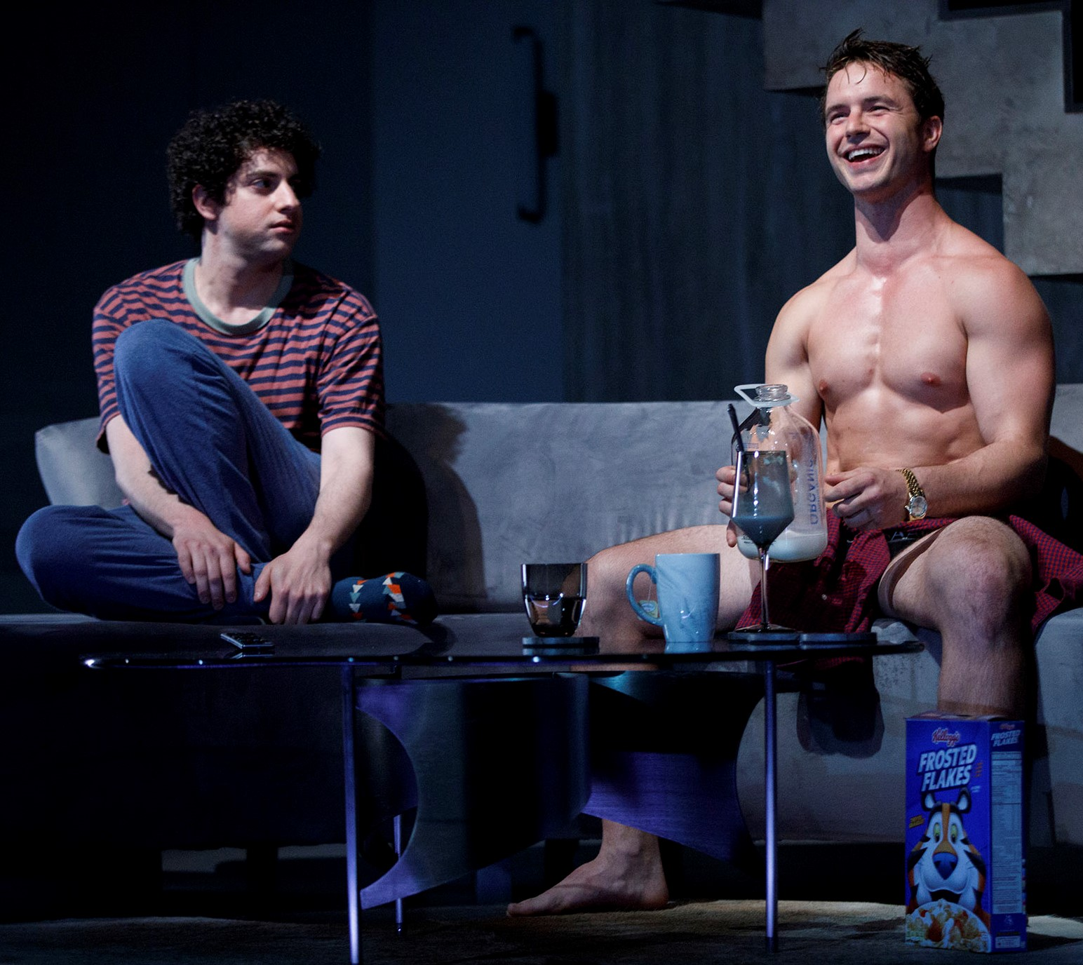 Gelb as the 20-year-old Benjamin with Brittain as Trey, who is also 20 and dating Benjamin's grandfather. Photographs by Joan Marcus.