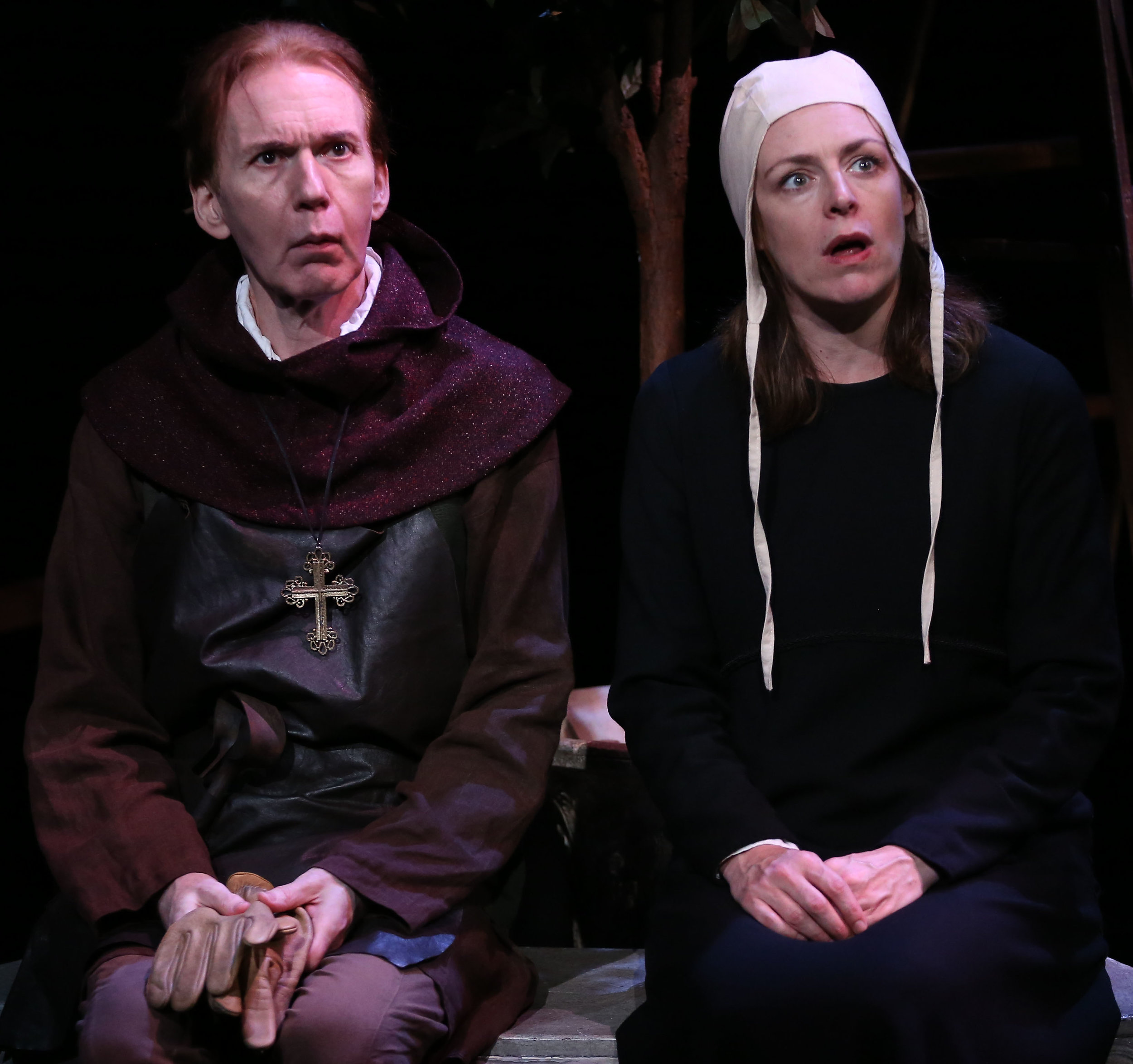 Timothy Doyle as Robert of Caistor, and Andrus Nichols as Margery Kempe wonder whether miracles can happen. Top: Nichols with Jason O'Connell as Margery's exasperated husband, John.