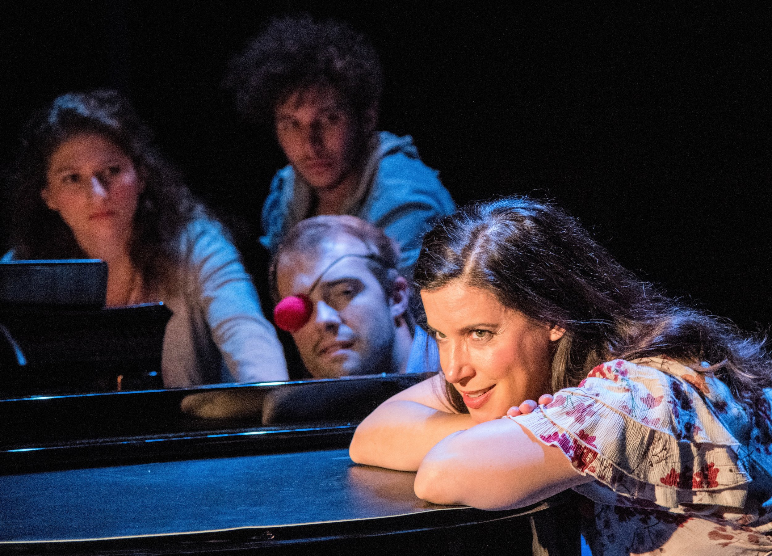 Christine Hamel (foreground) as a sultry singer with (left to right) Ashley Michelle, Miguel Castillo and Sebastian LaPointe in  Brecht on Brecht . Top, from left: Harrison Bryan, Hamel and Jake Murphy tearing down the house.