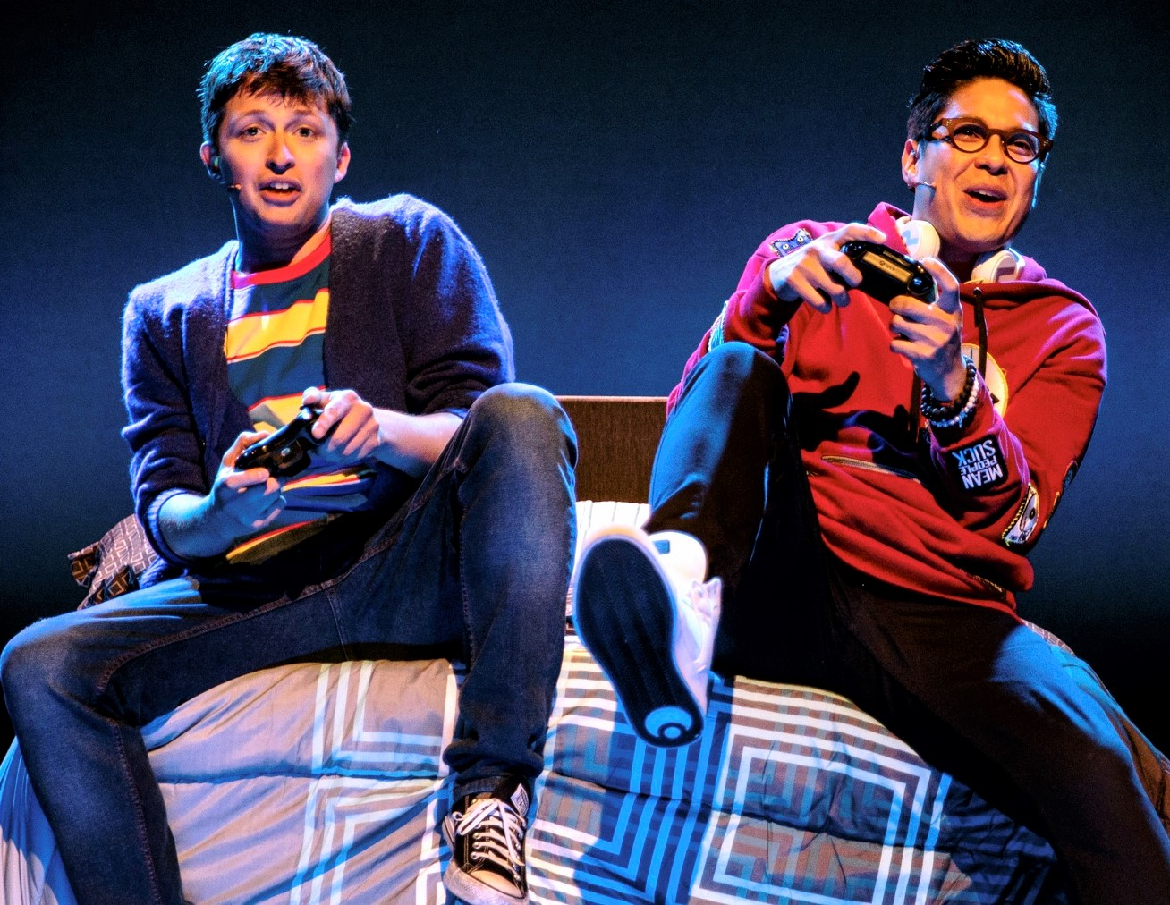Will Roland (left) and George Salazar are high school friends in  Be More Chill . Top, from left: Tiffany Mann as Jenna, Jason Tam as the Squip, and Roland as Jeremy.