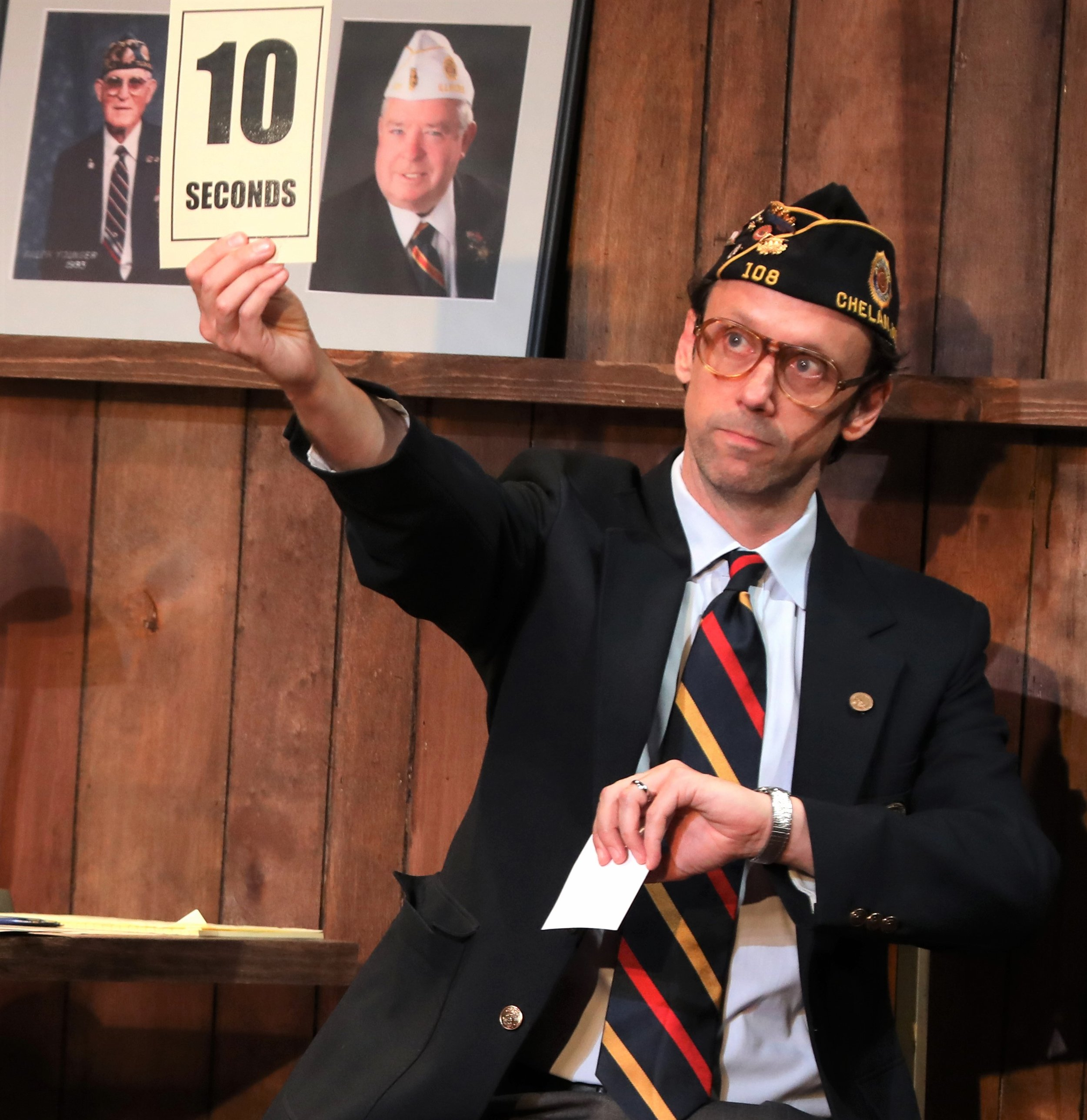 Mike Iveson as a member of the American Legion in  What the Constitution Means to Me . Top: Heidi Schreck makes the political personal.
