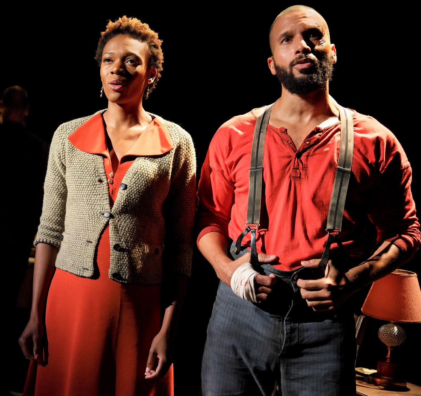Kimber Sprawl and Sydney James Harcourt as Marianne and Joe inch toward a future together. Photographs by Joan Marcus.