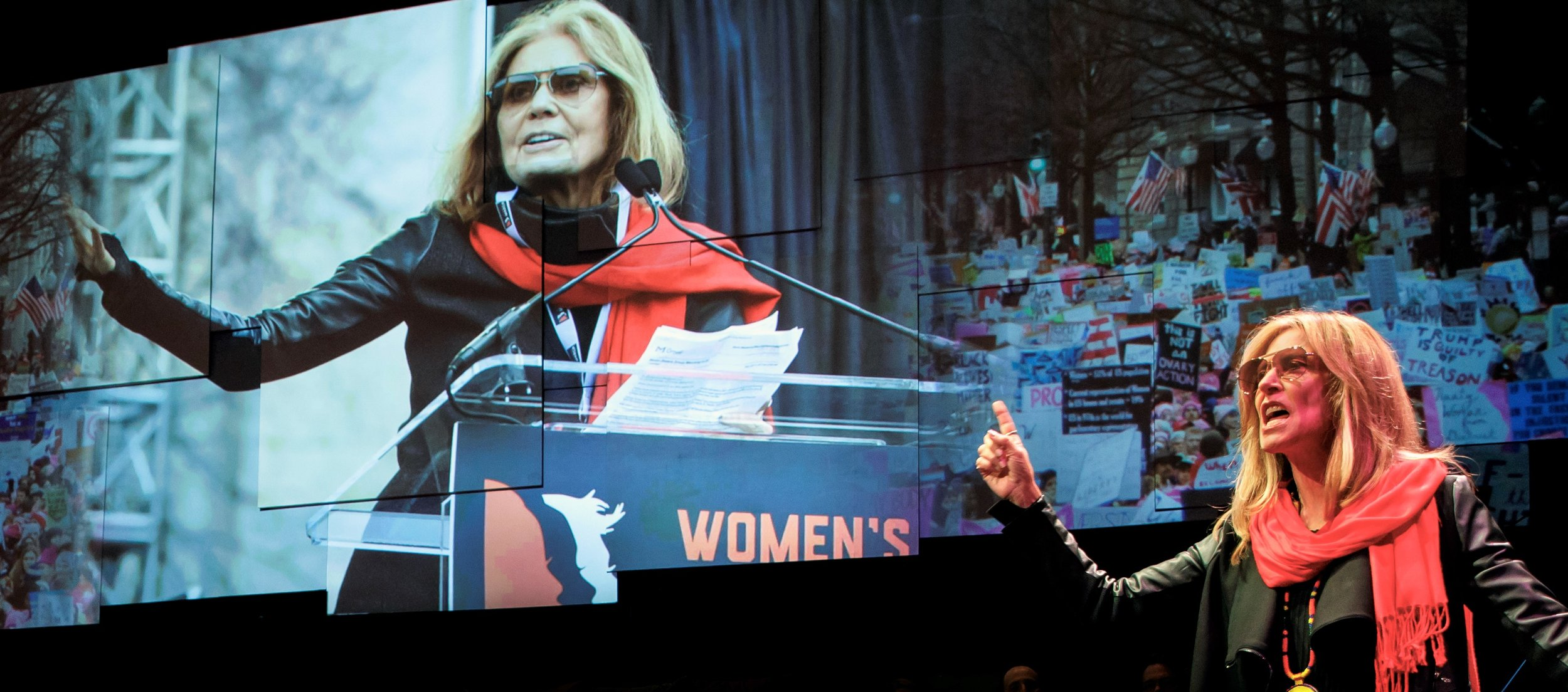 Lahti as Gloria Steinem stands next to a recent photo of Steinem herself. Photographs by Joan Marcus.