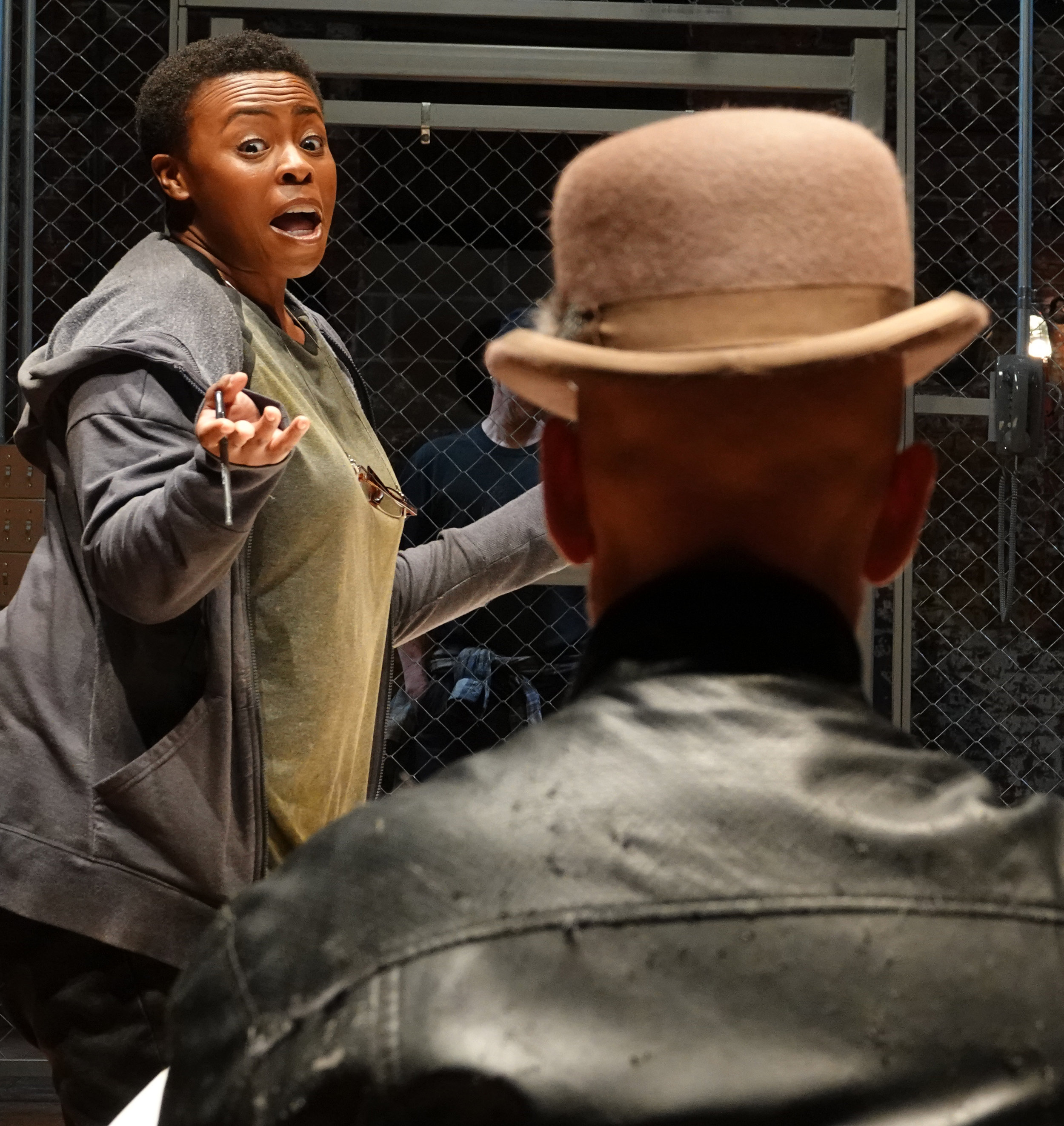 Omozé Idehenre plays Betty Dullfeet, and Christopher Gurr is her husband. Photographs by Joan Marcus.
