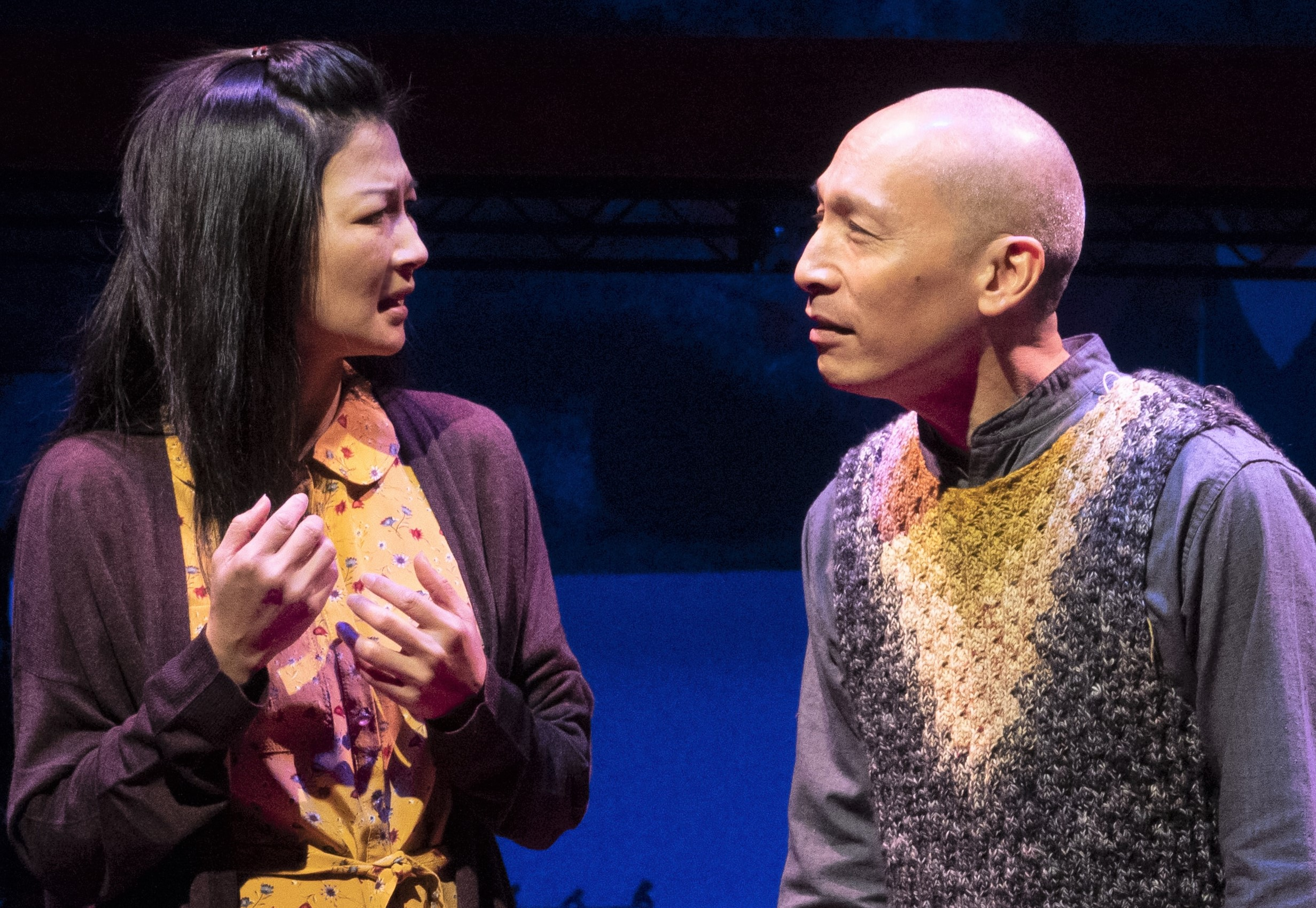 Yoo Nanhee speaks with an imagined version of her father, played by Francis Jue. Photographs by Joan Marcus.