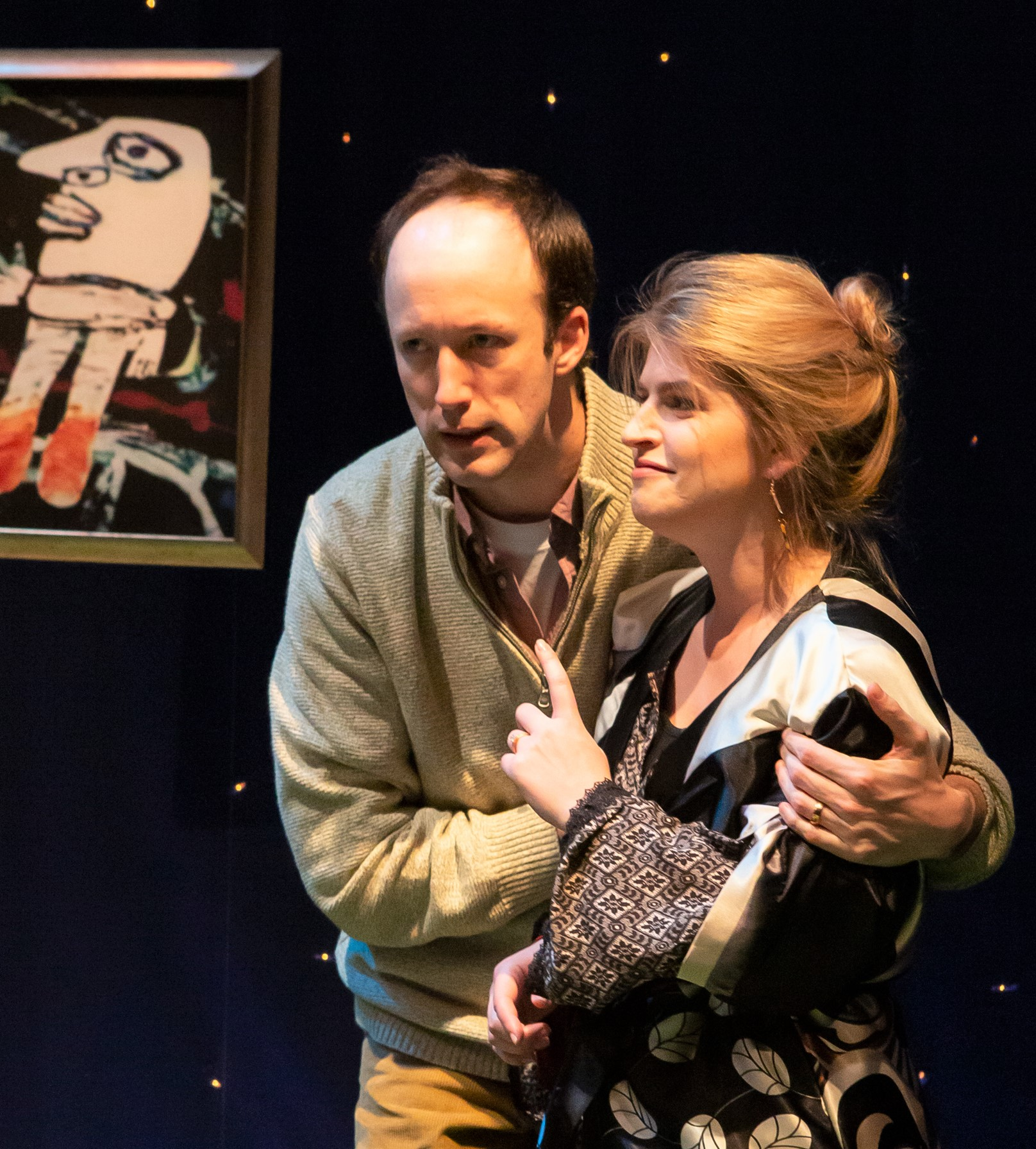 James Patrick Nelson and Claire Curtis-Ward play Henri and Sonia, hosts of a disastrous dinner party, in Yasmina Reza's intellectual comedy  Life x 3.  Top: Nelson with Leah Curney as Inès.