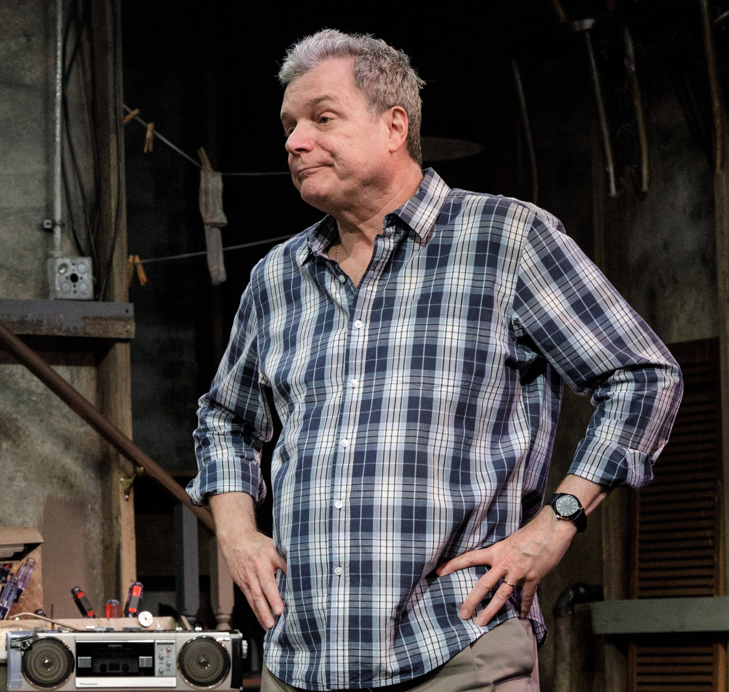 John Procaccino plays Gerry, the controlling husband of Irene in Theresa Rebeck's  Downstairs.  Top: Real siblings Tyne Daly and Tim Daly are Irene and Teddy, the sister and brother in Rebeck's thrilling family drama.