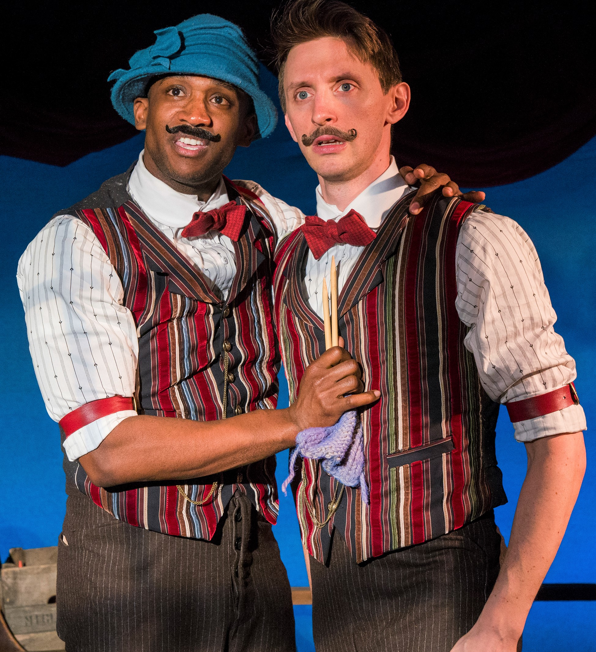 Jelani Remy (left), in Ida mode, and Teddy Yudain in  The Apple Boys . Top: Jonothon Lyons, Yudain, Remy, and Amanda Ryan Paige.