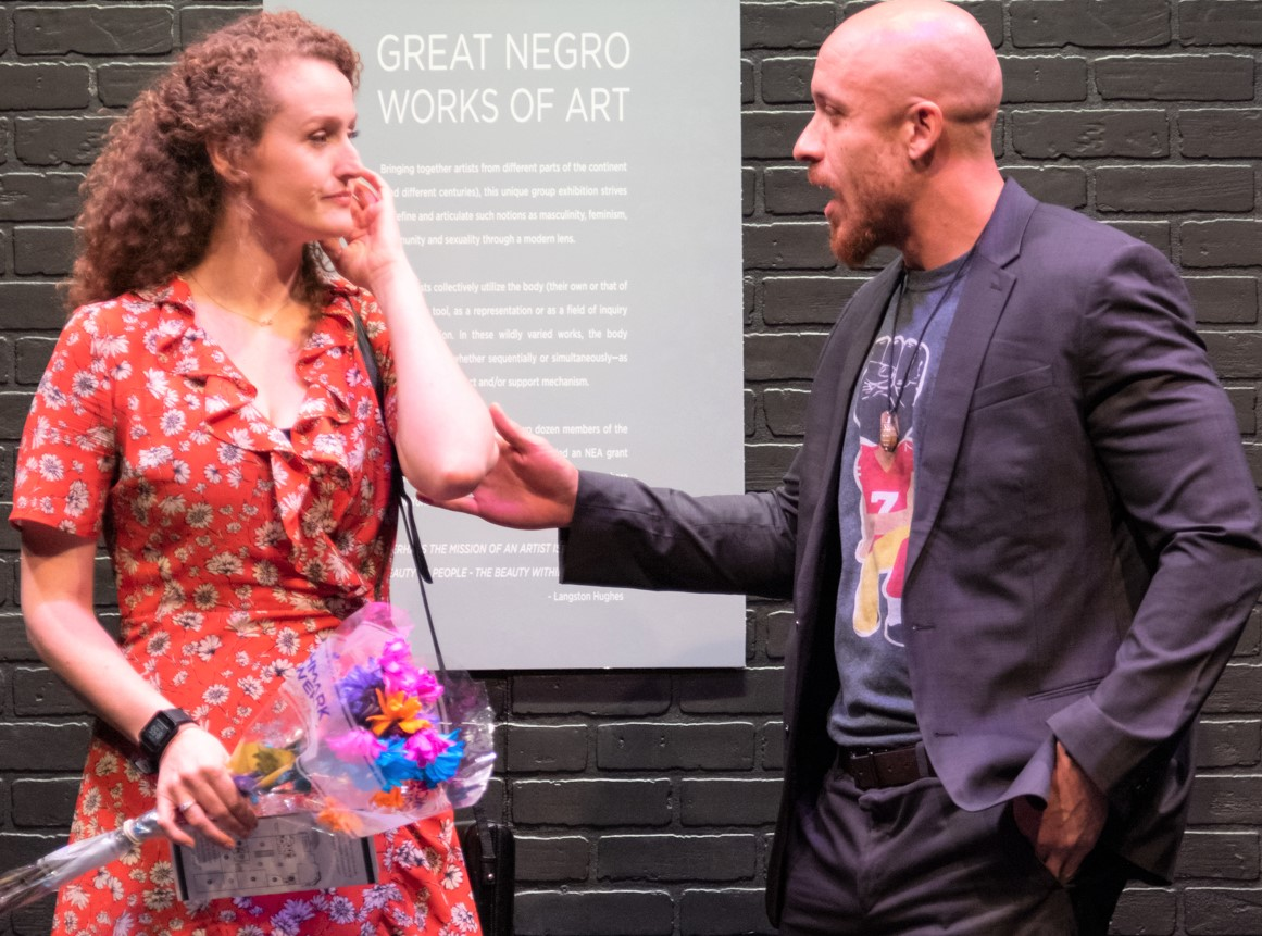 Brenda Meaney and KeiLyn Durrel Jones negotiate the socially and racially awkwardness of a blind date in LaBute's  Great Negro Works of Art . Photographs by Russ Rowland.
