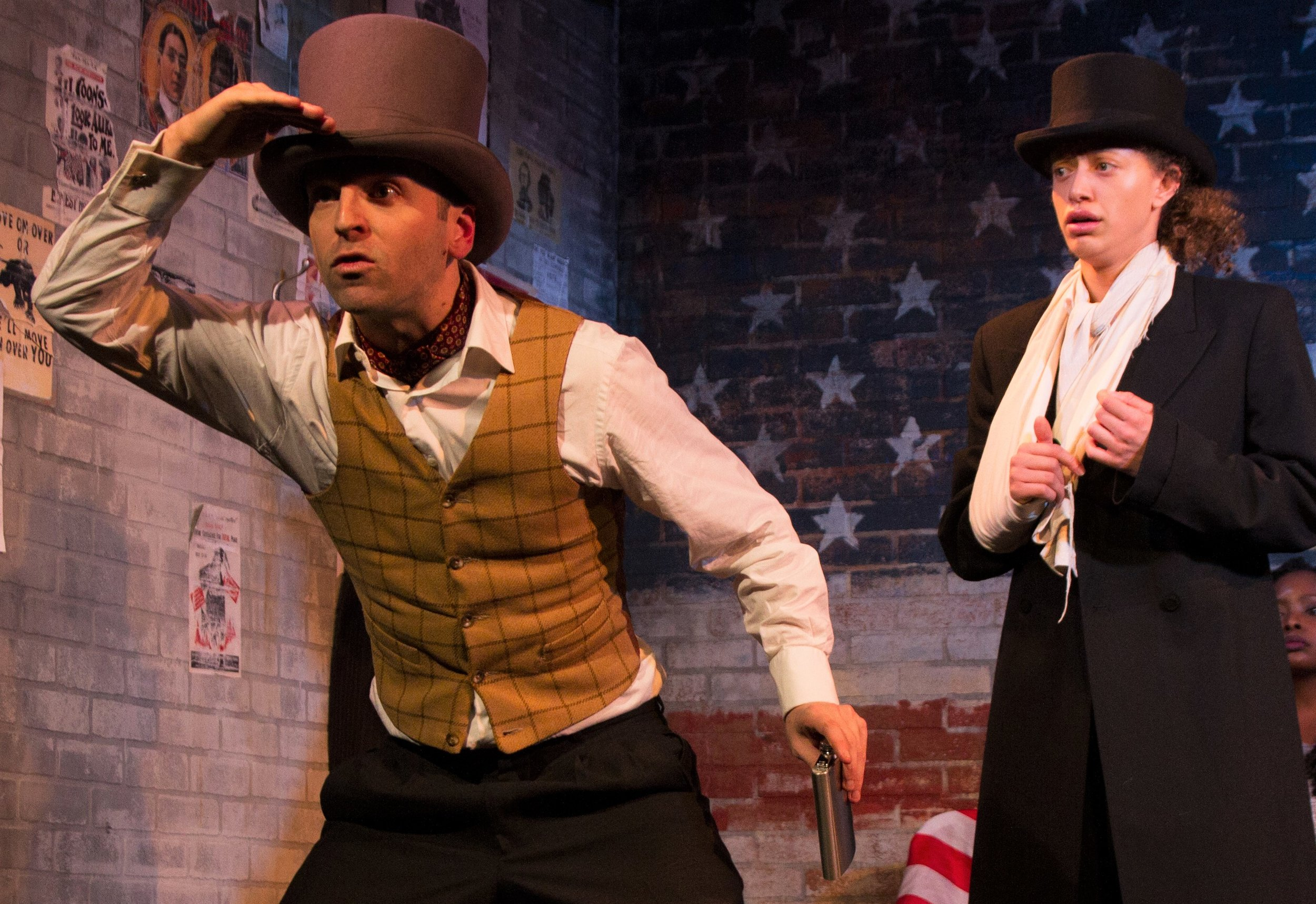 Herrald as Walsh (left) is taken in by the disguise of runaway slave Eleanor (Alexander). Photographs by Jody Christopherson.