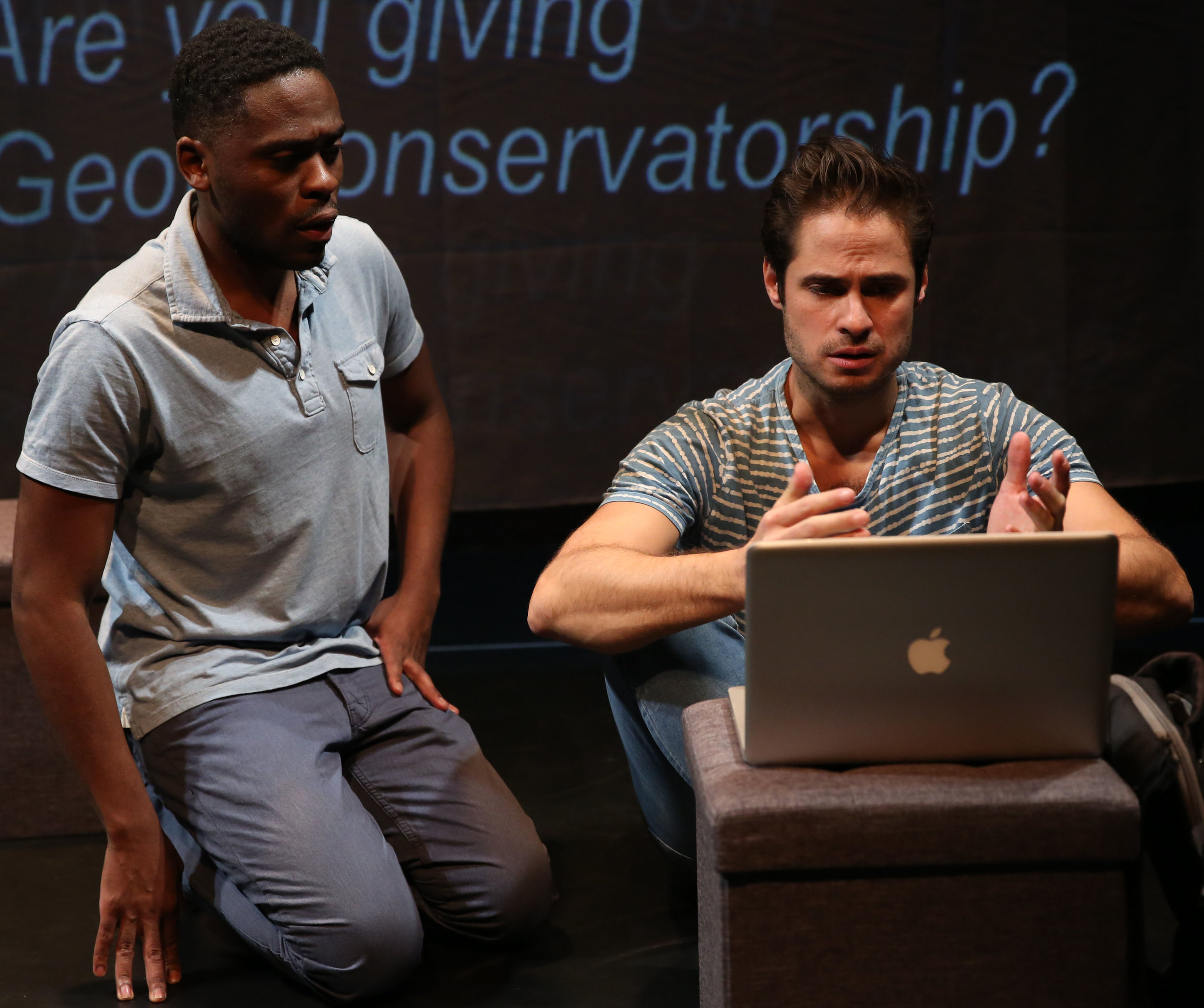 Julian Joseph (left) plays Tyler, and Marc Sinoway plays Paolo in Charles Gershman's  The Waiting Game.  Top: Sinoway with Joshua Bouchard as Geoff.
